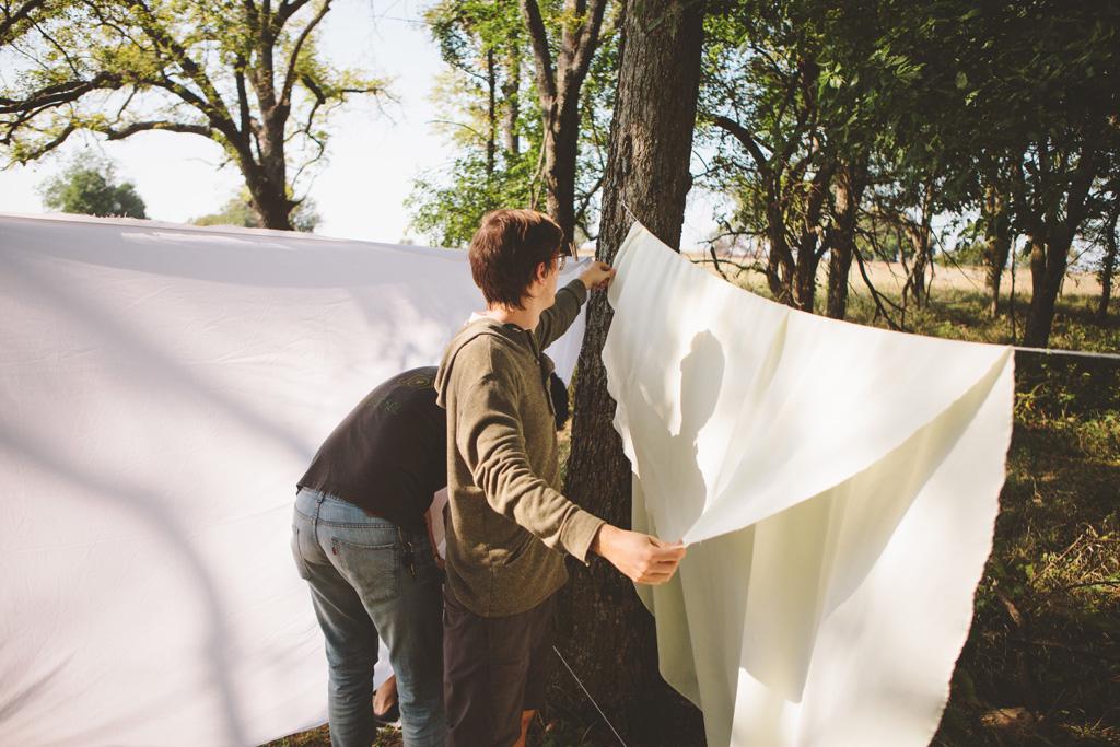 An artist wedding in the woods
