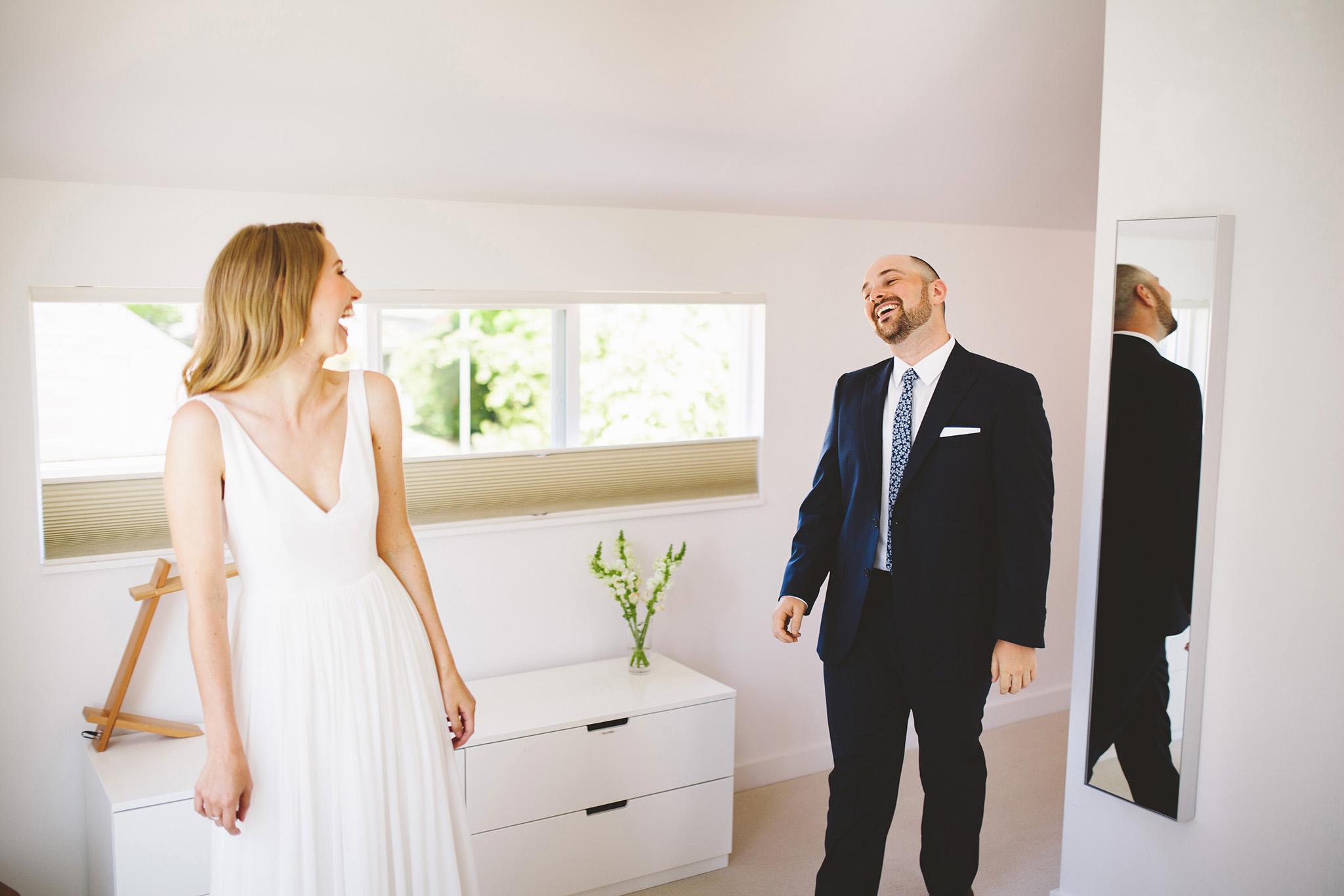 A modern first look wedding in seattle
