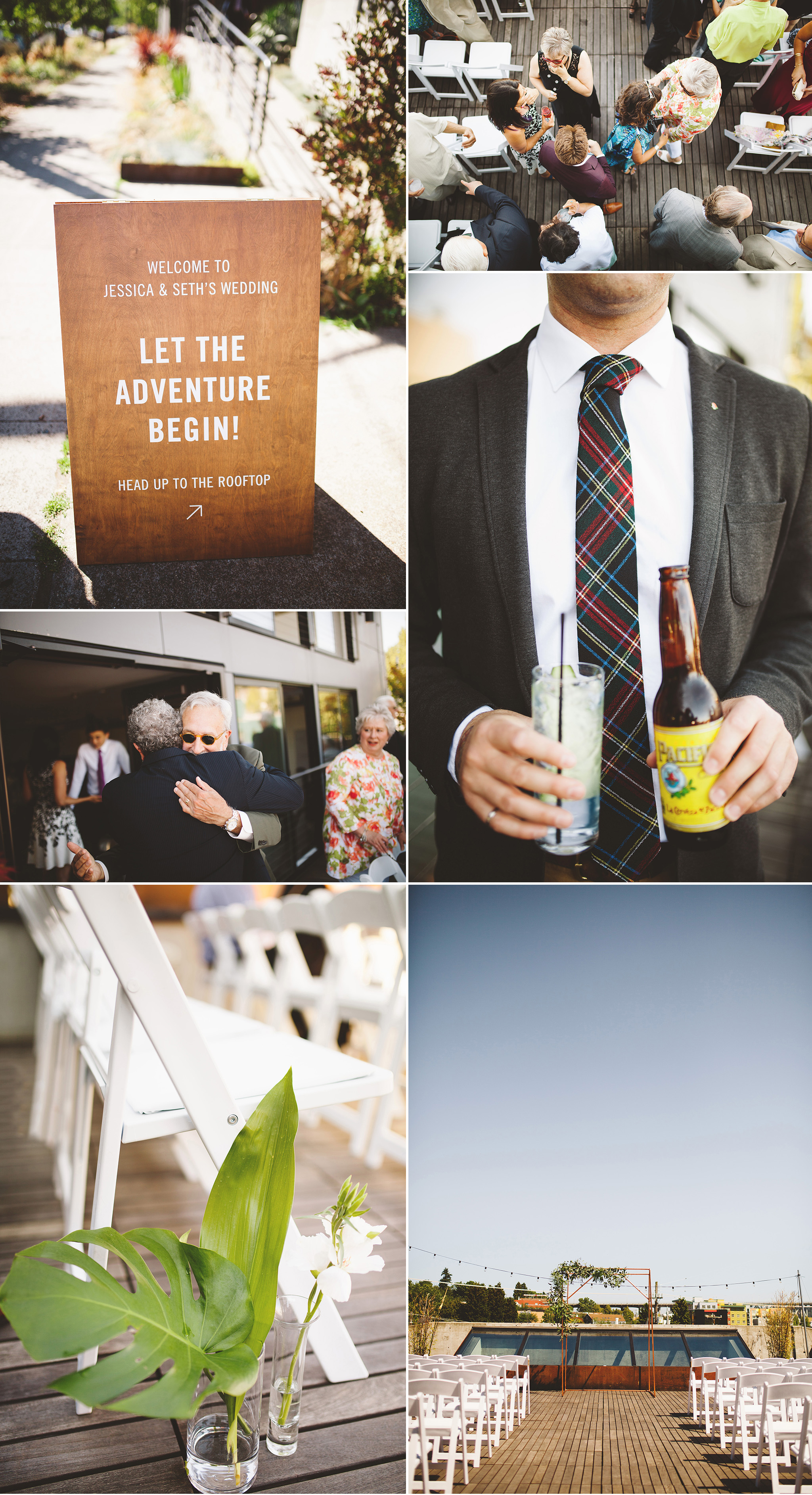 Tropical rooftop wedding in seattle