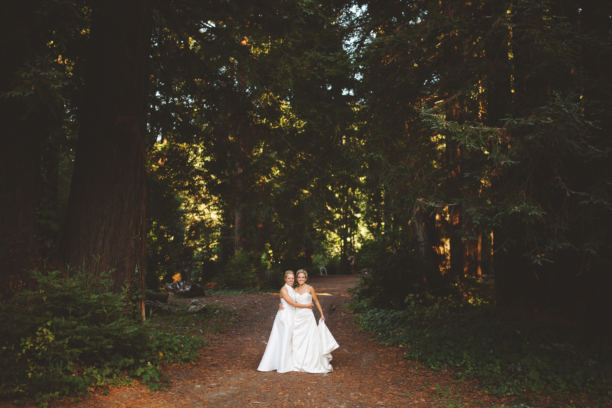 outdoor wedding Reception in the Redwoods at Dawn Ranch Guernevill wedding venue.