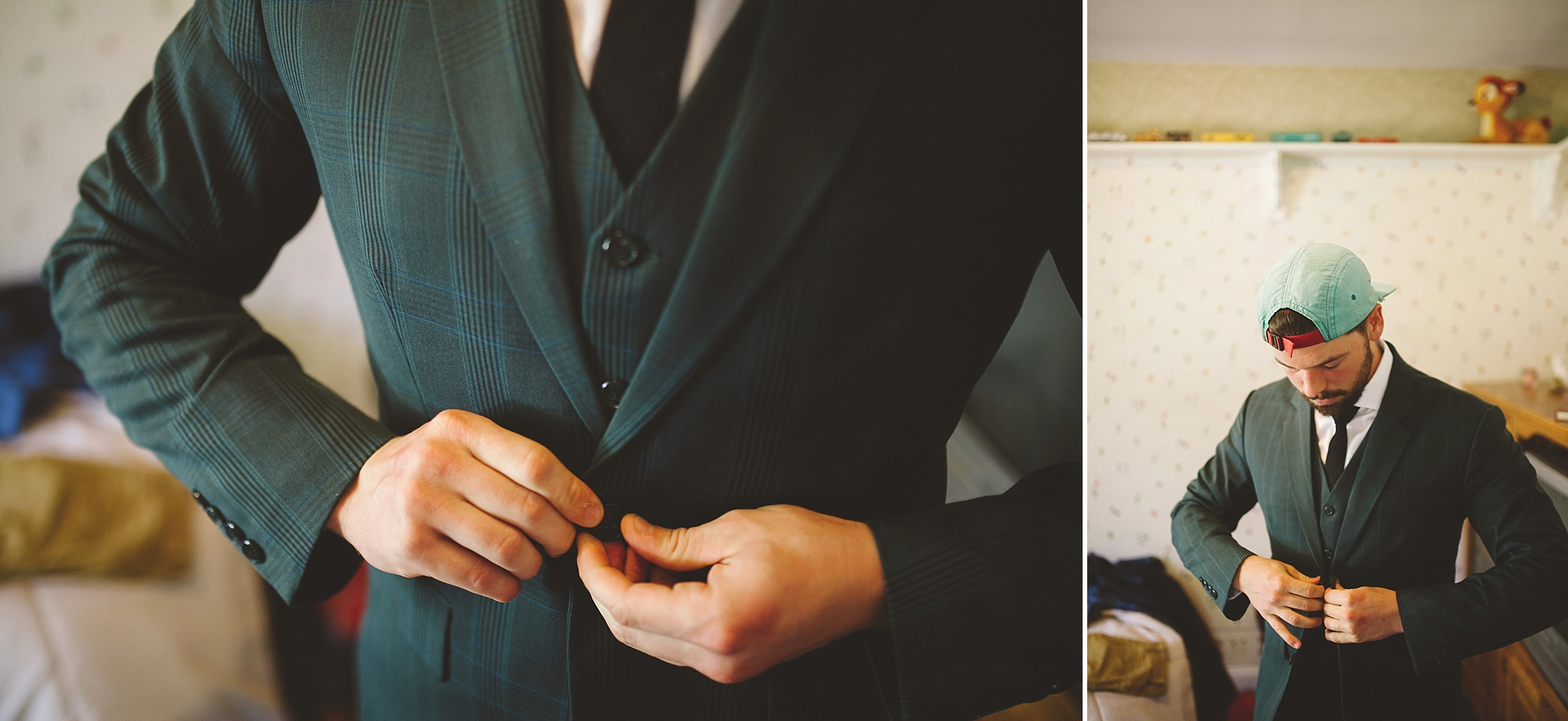 groom gets ready for outdoor woods wedding
