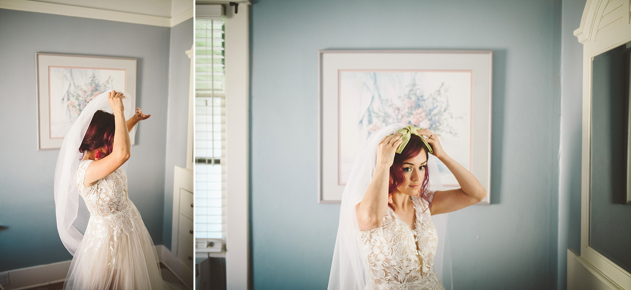 bride puts on her dress pnw