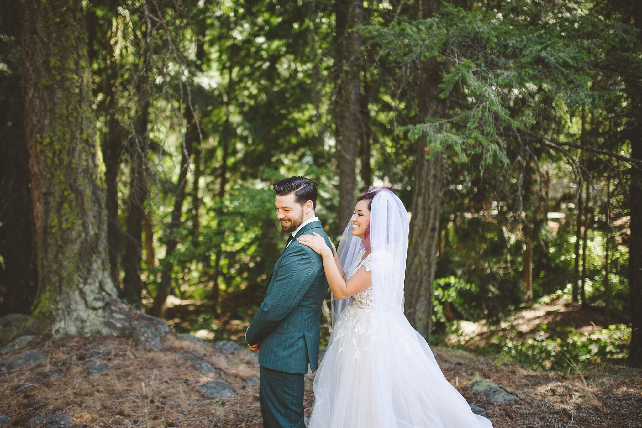 first look for outdoor mountain wedding