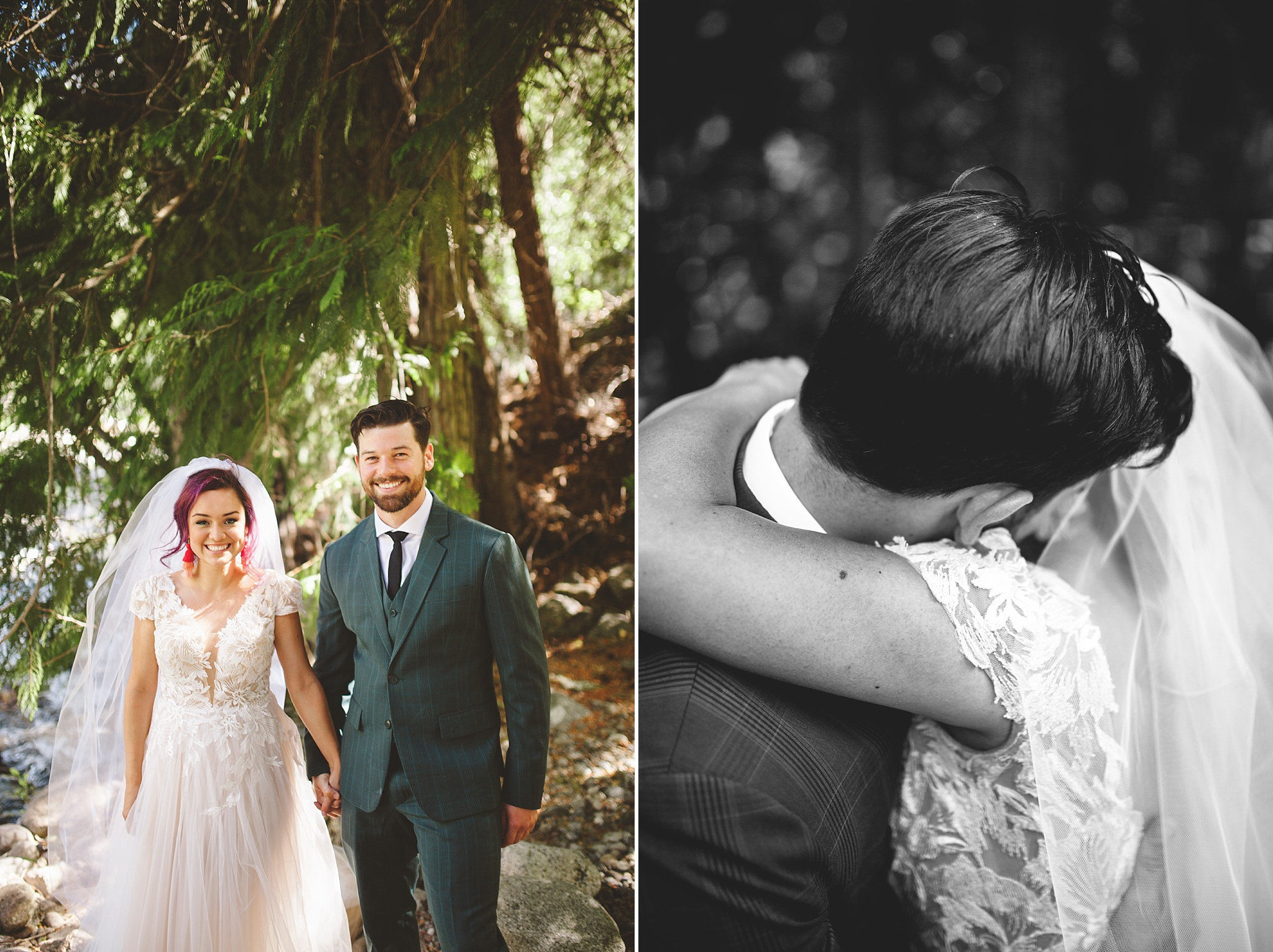 wedding portraits in woods of washington