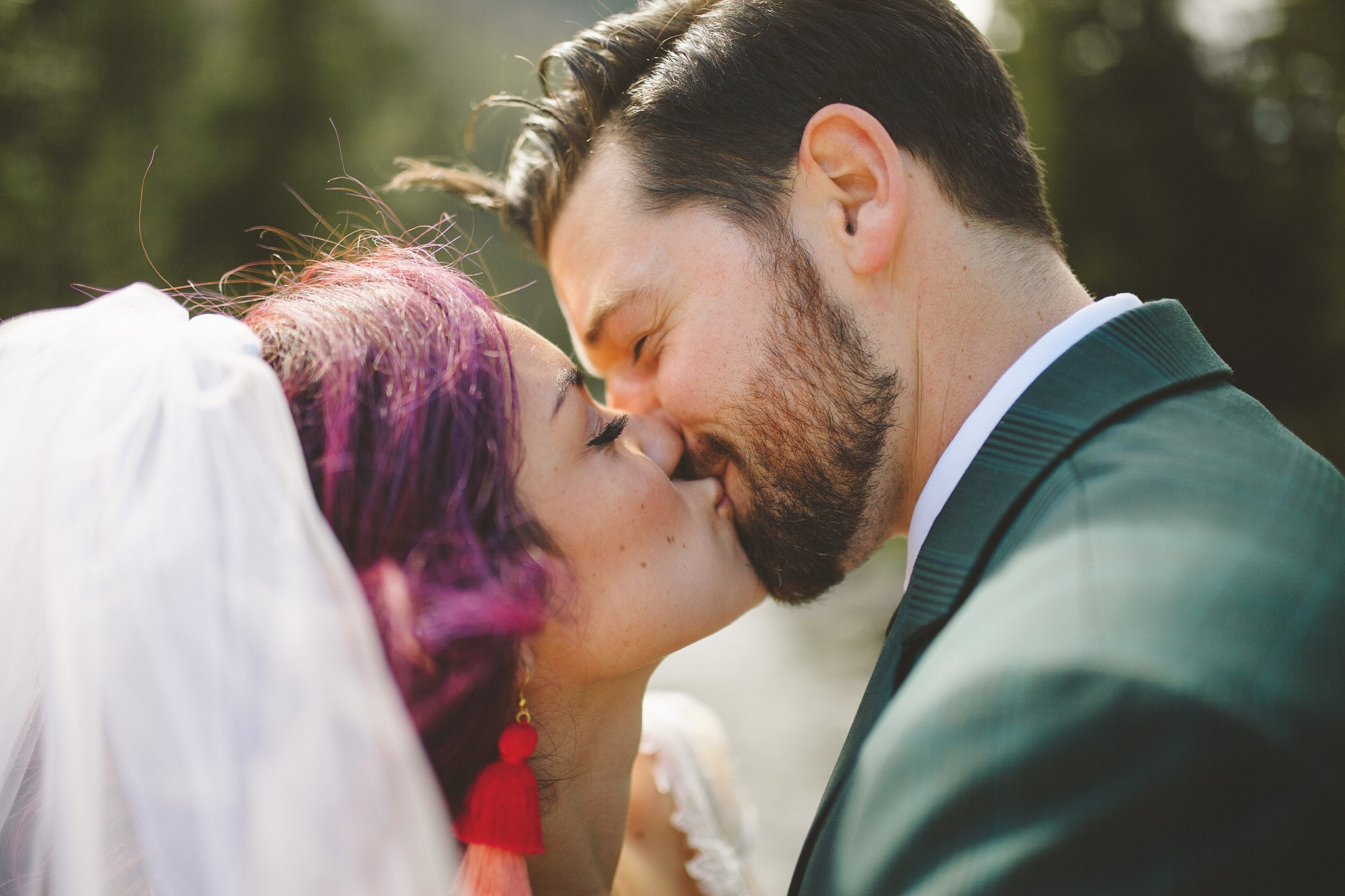 purple hair bride nontraditional wedding style