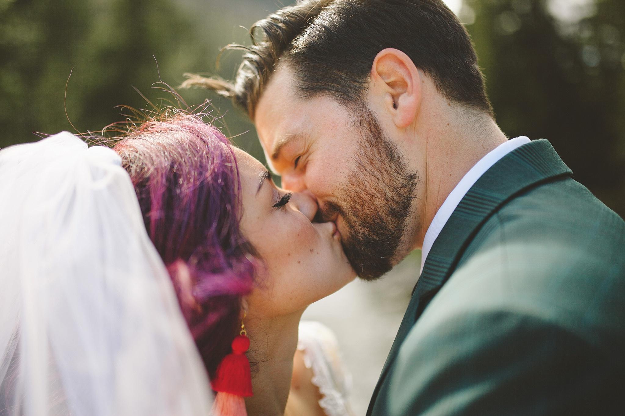 purple hair bride nontraditional wedding style