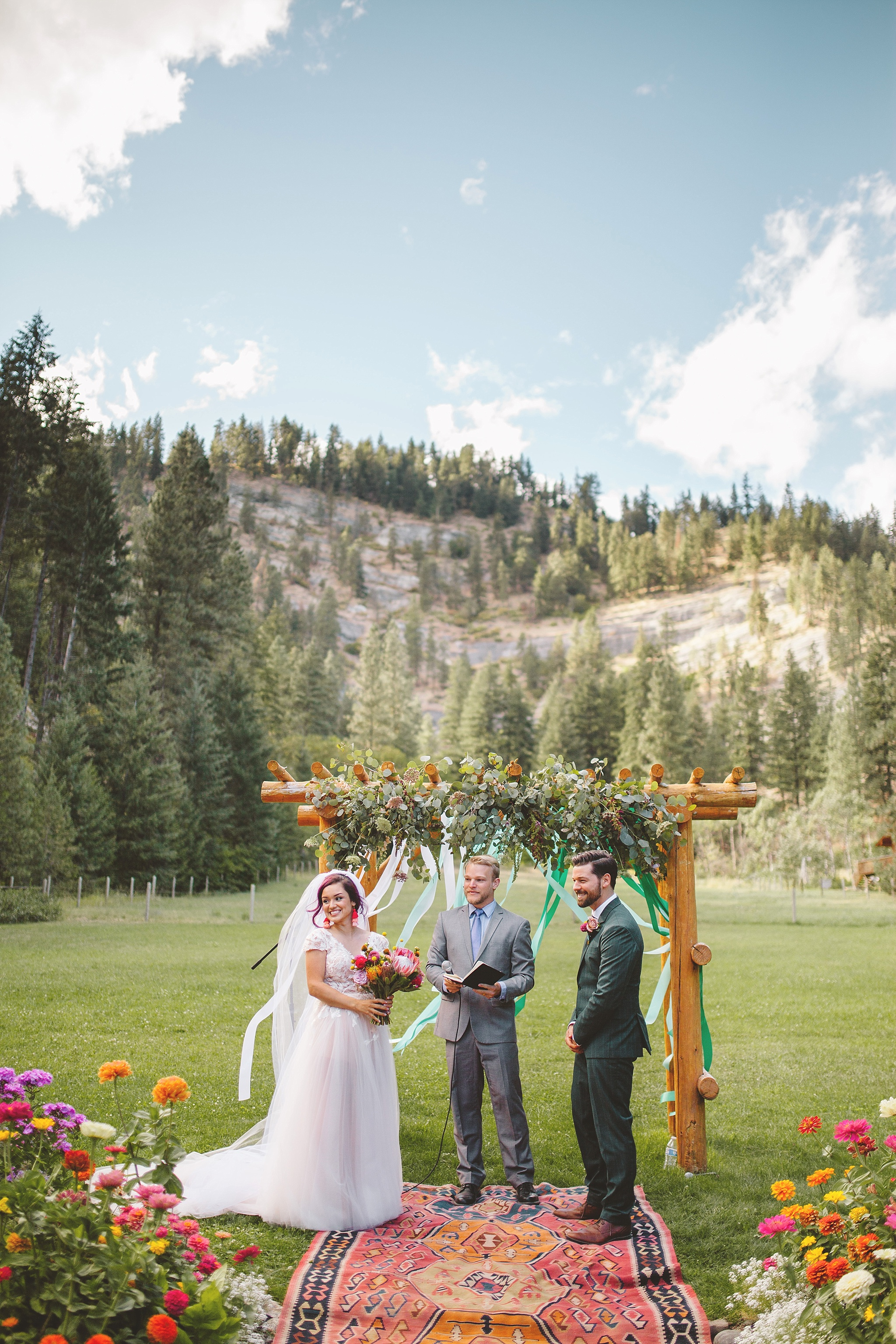 outdoor ceremony in the woods of washington