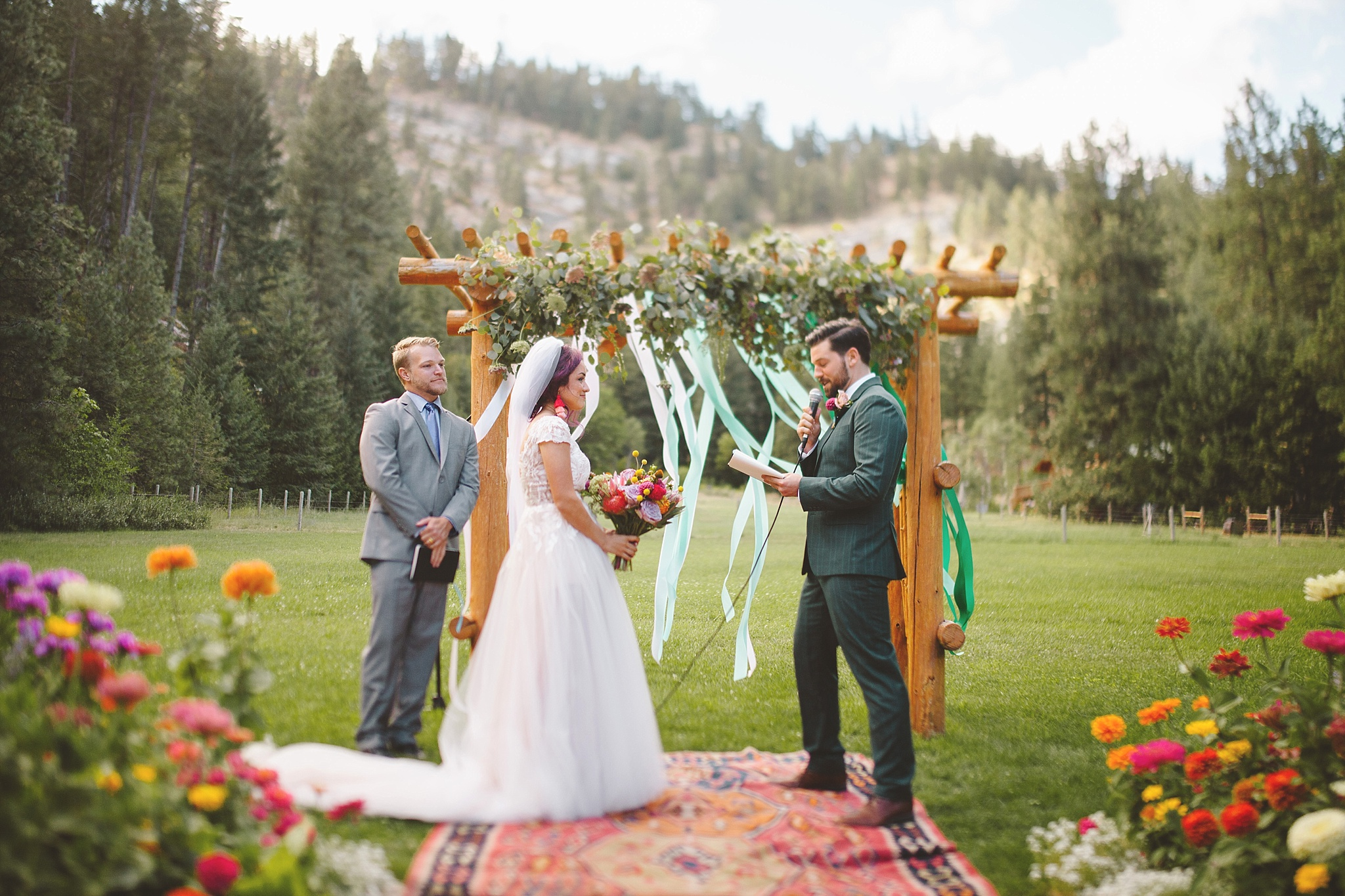 bohemian wedding ceremony in seattle