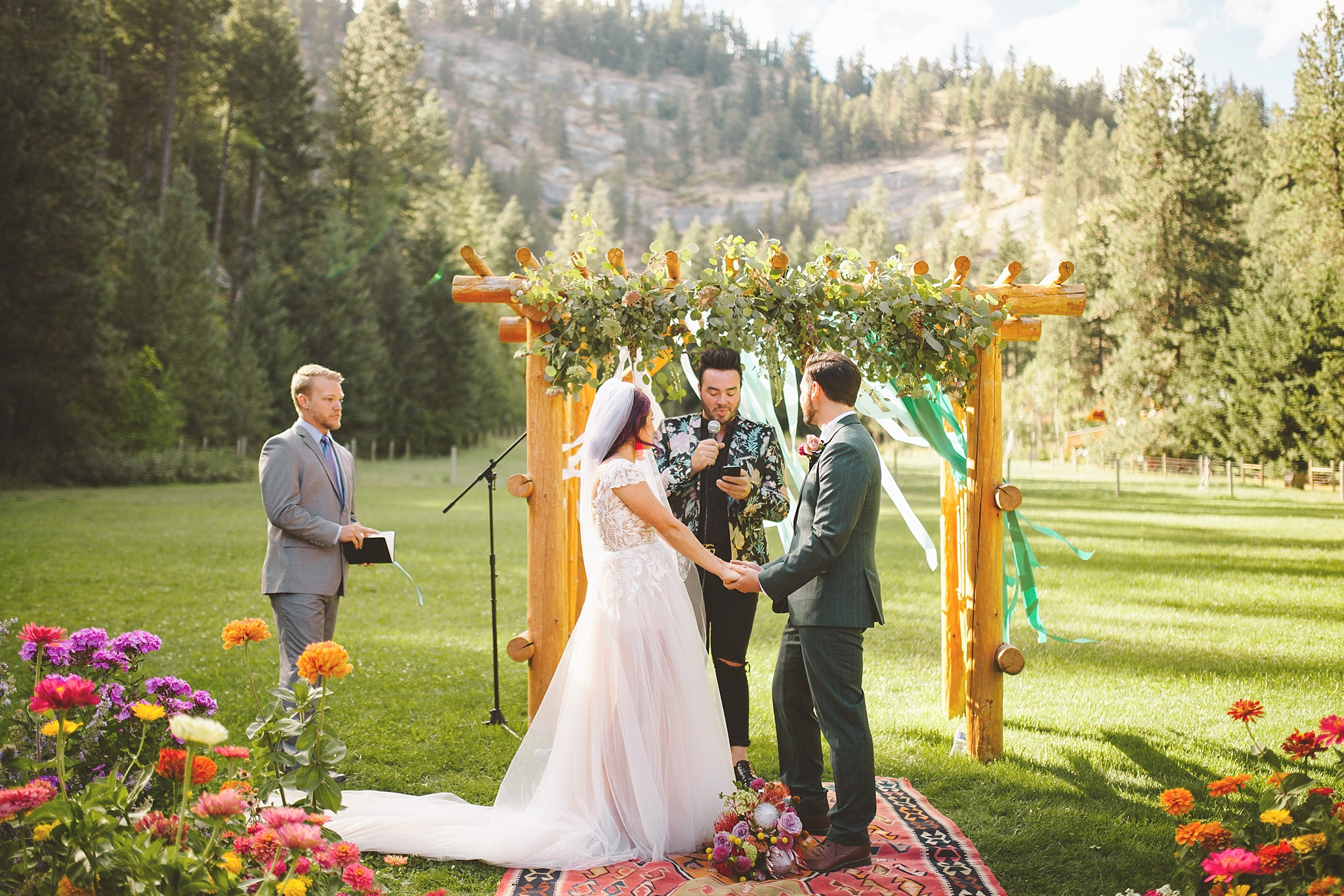 colorful outdoor wedding in the woods