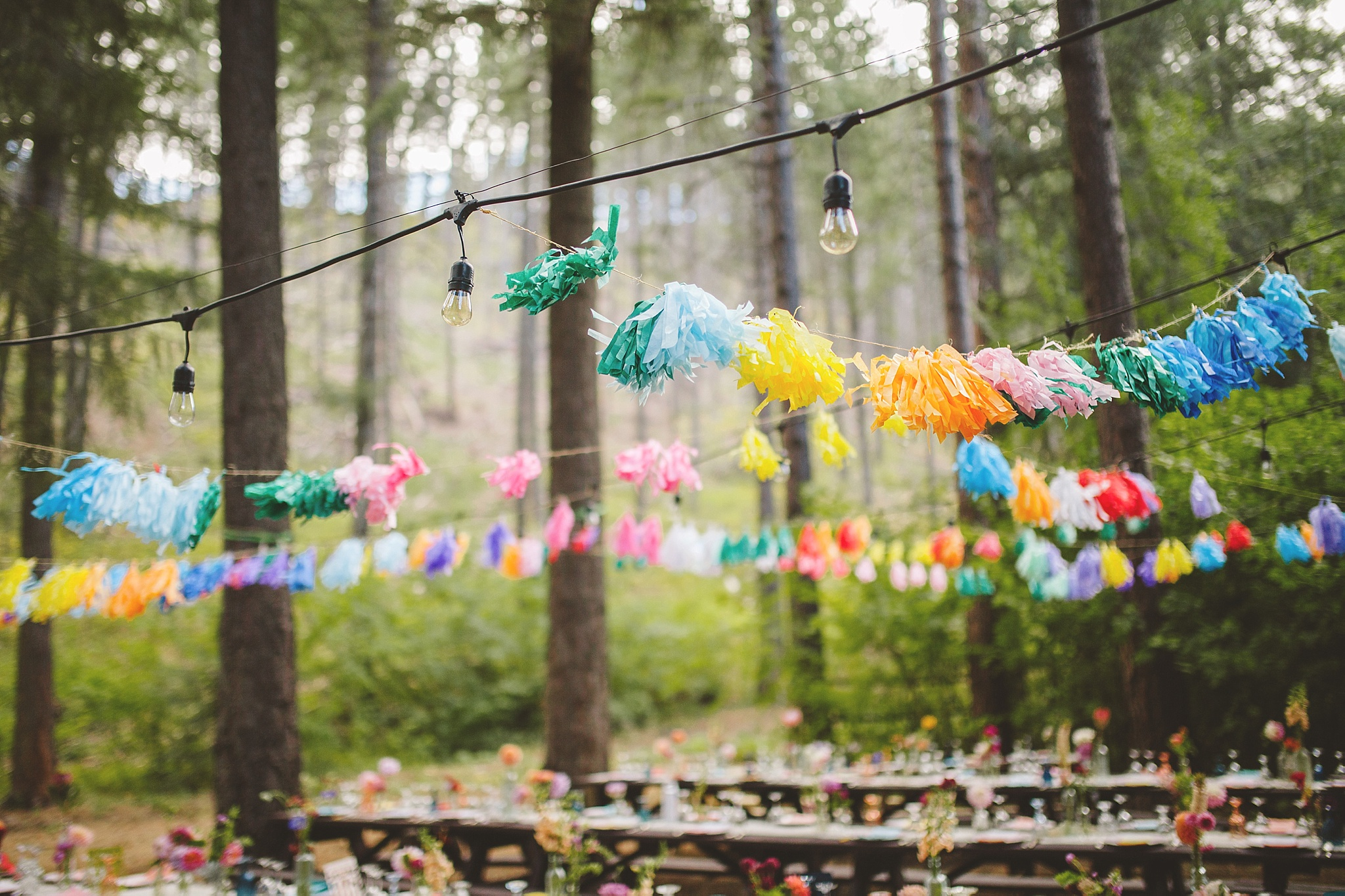 wedding reception in the woods of washington
