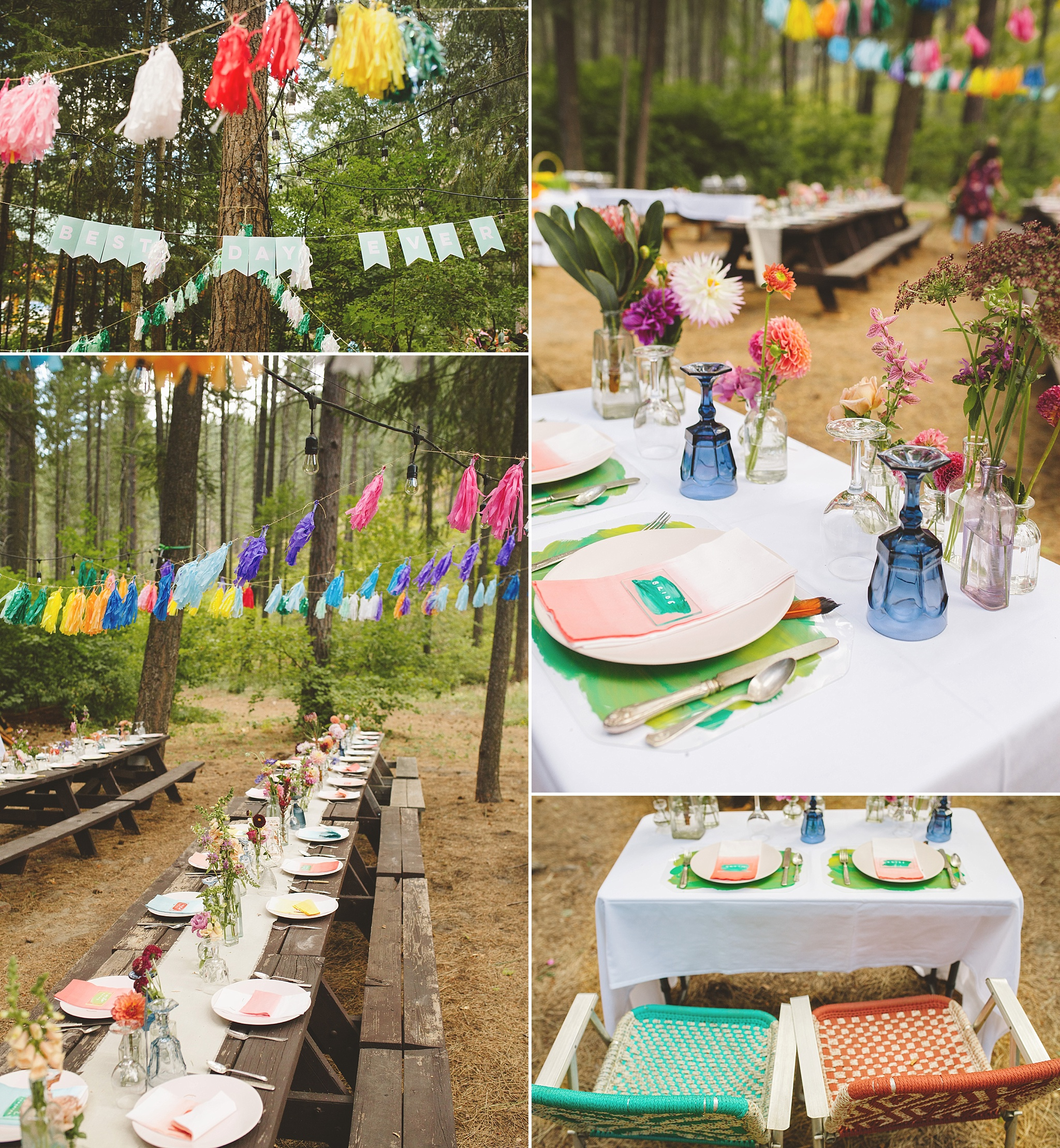 colorful wedding details for reception in the woods
