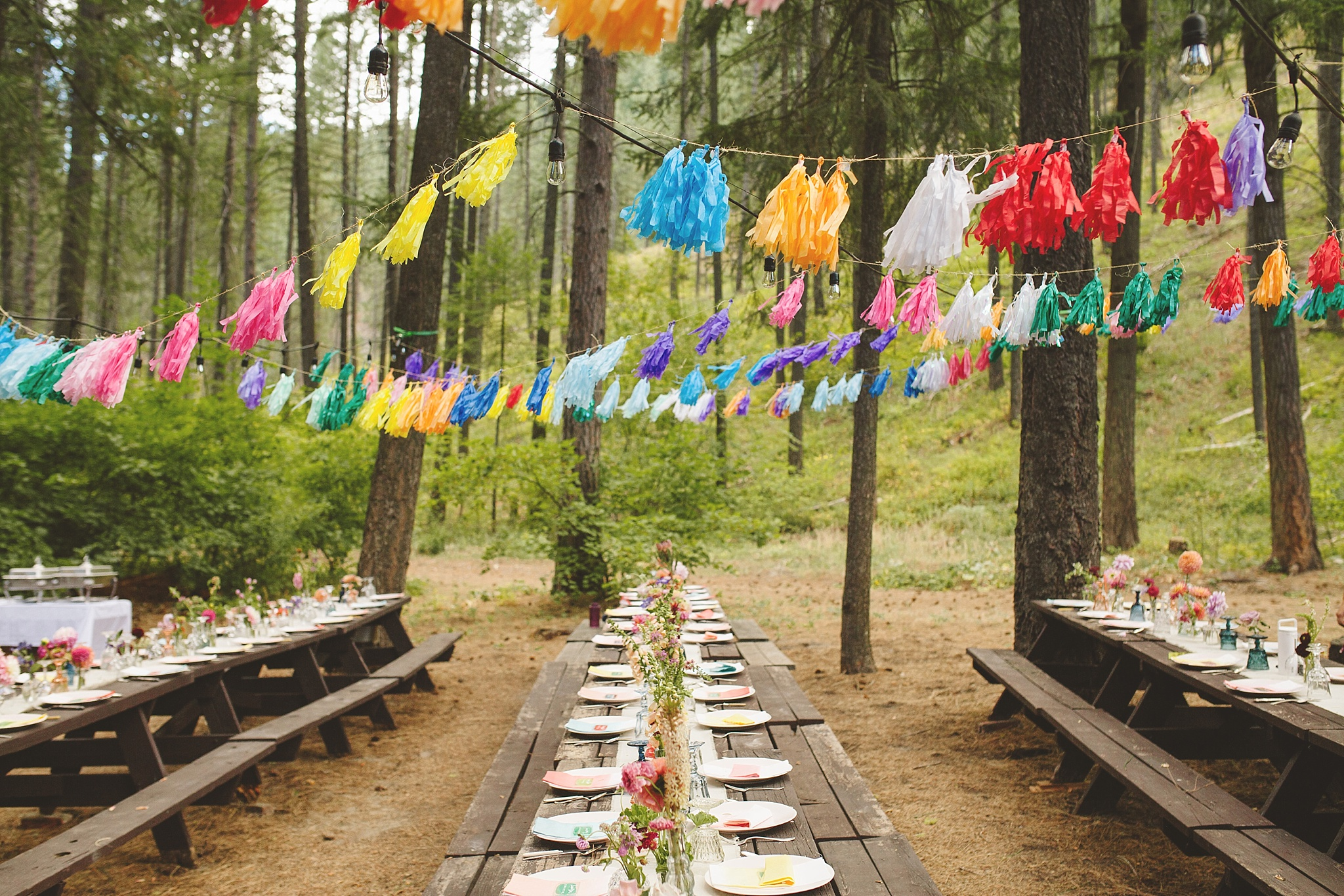 colorful woodland wedding decoration