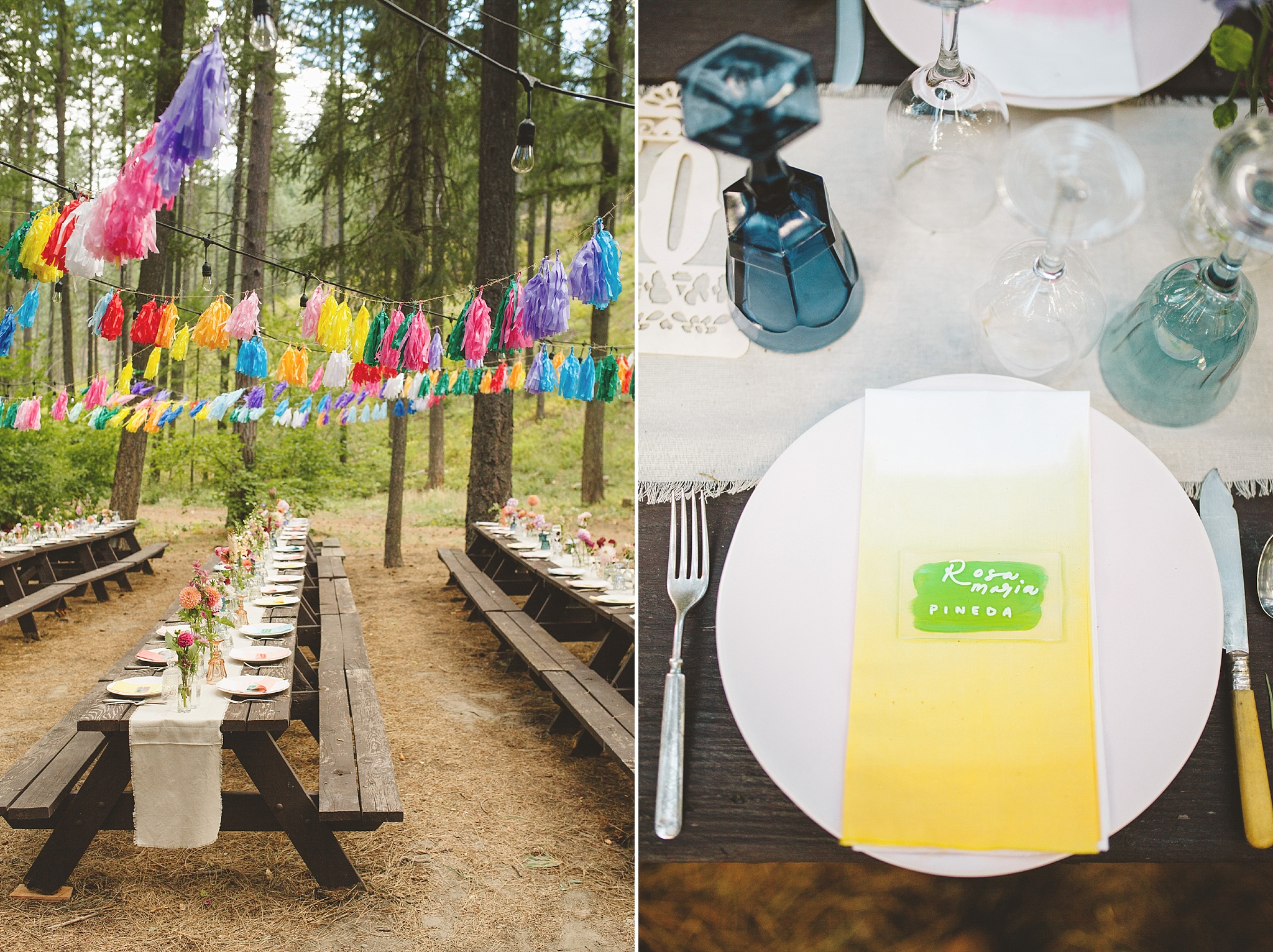 colorful reception details in washington woods