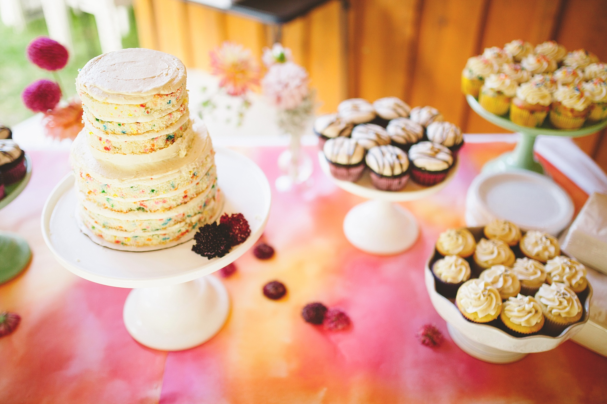 watercolor funfetti wedding cake