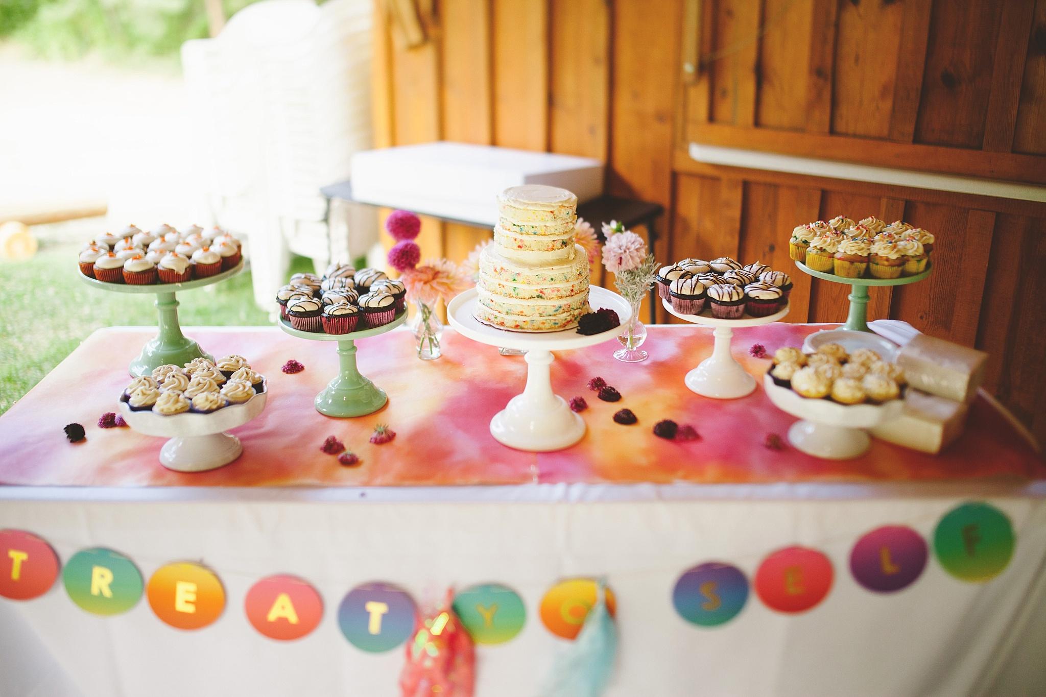 watercolor funfetti modern wedding cake