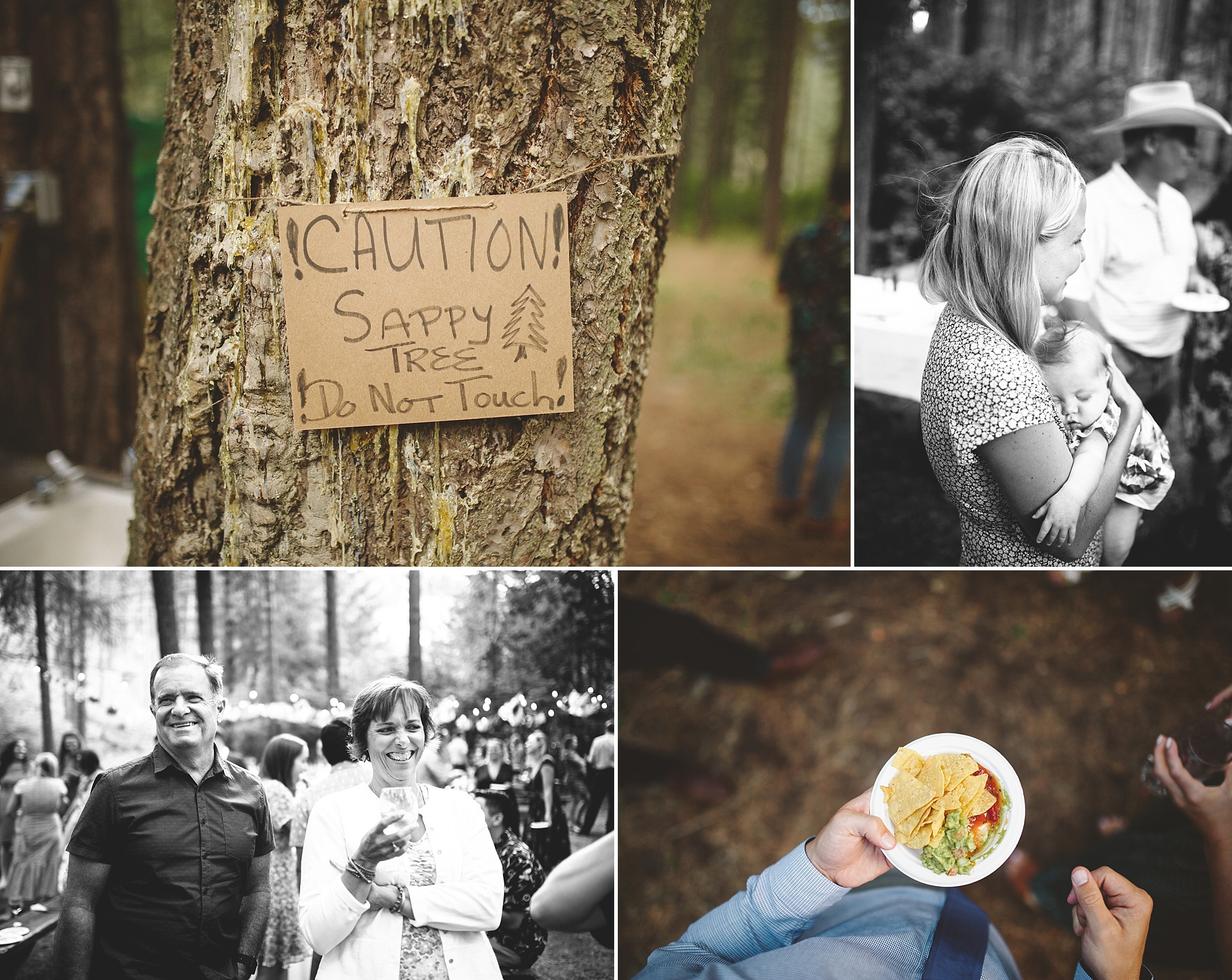 wedding cocktail hour in the woods