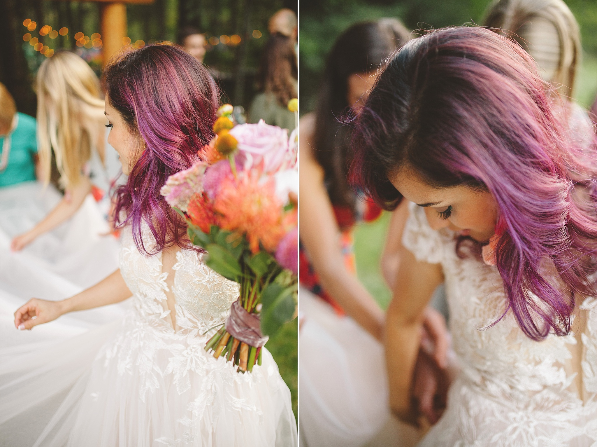 purple hair bride washington
