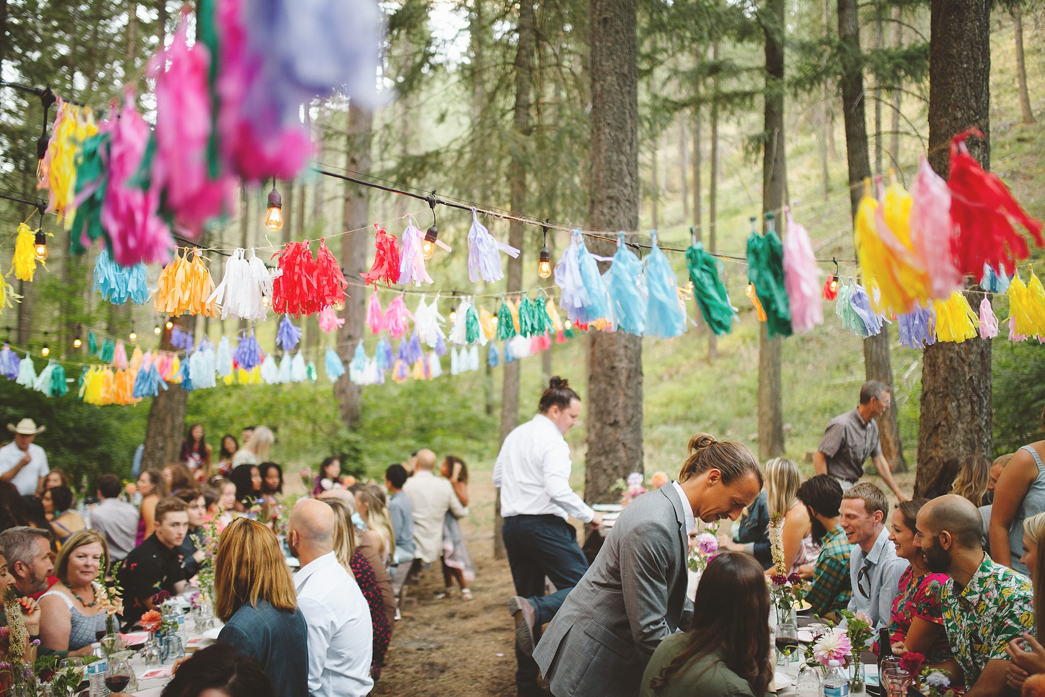 reception for wedding in the woods of washington