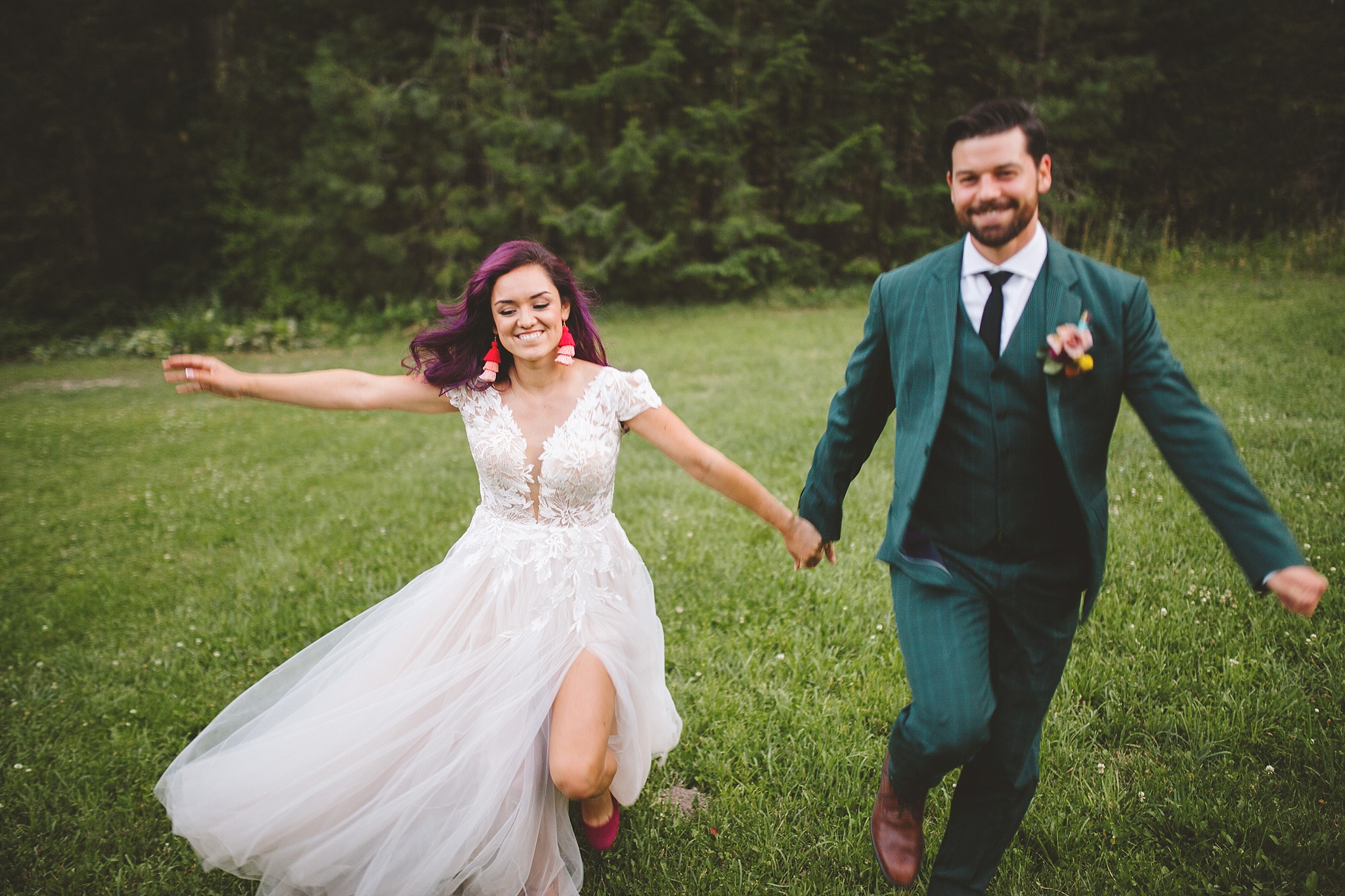 running through the woods on wedding