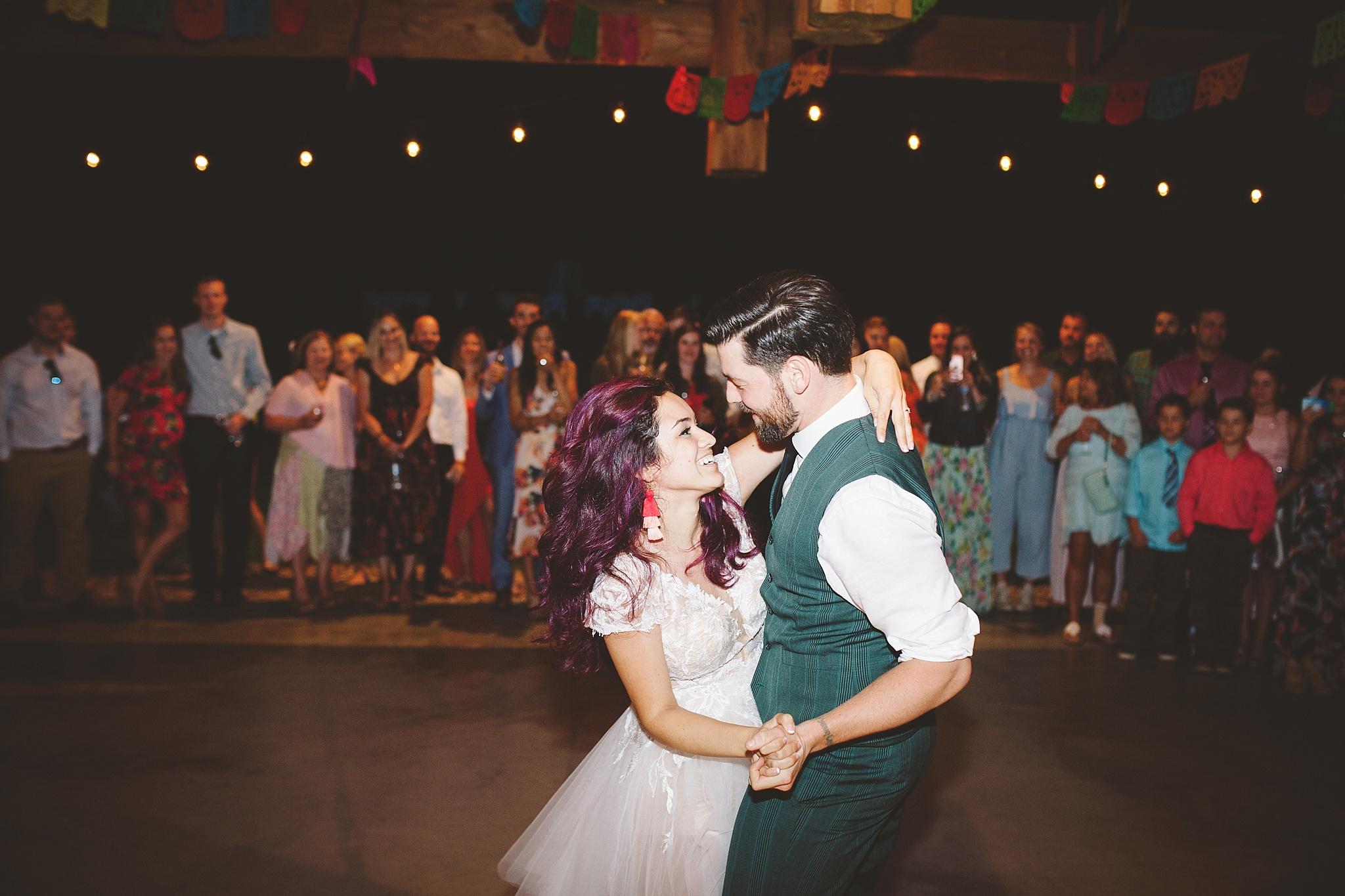 happy emotional first wedding dance