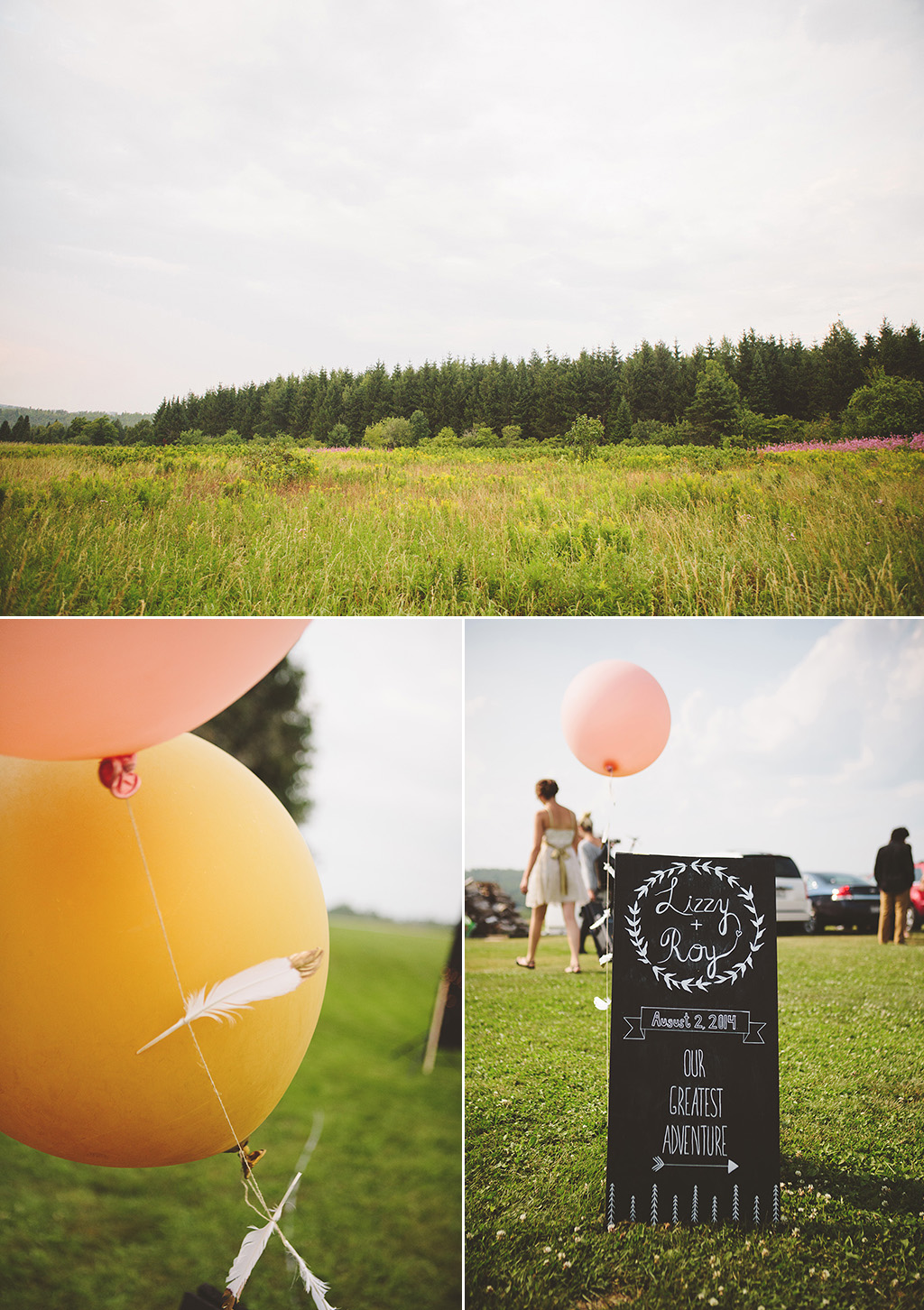 DIY wedding ideas with gold dipped feathers, pink baloons, and chalk board welcome sign.