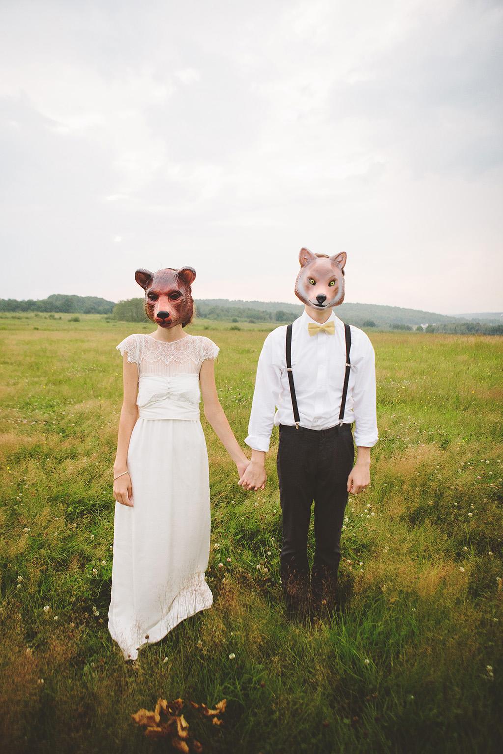Animal mask bridal portrait photobooth costume at DIY wedding