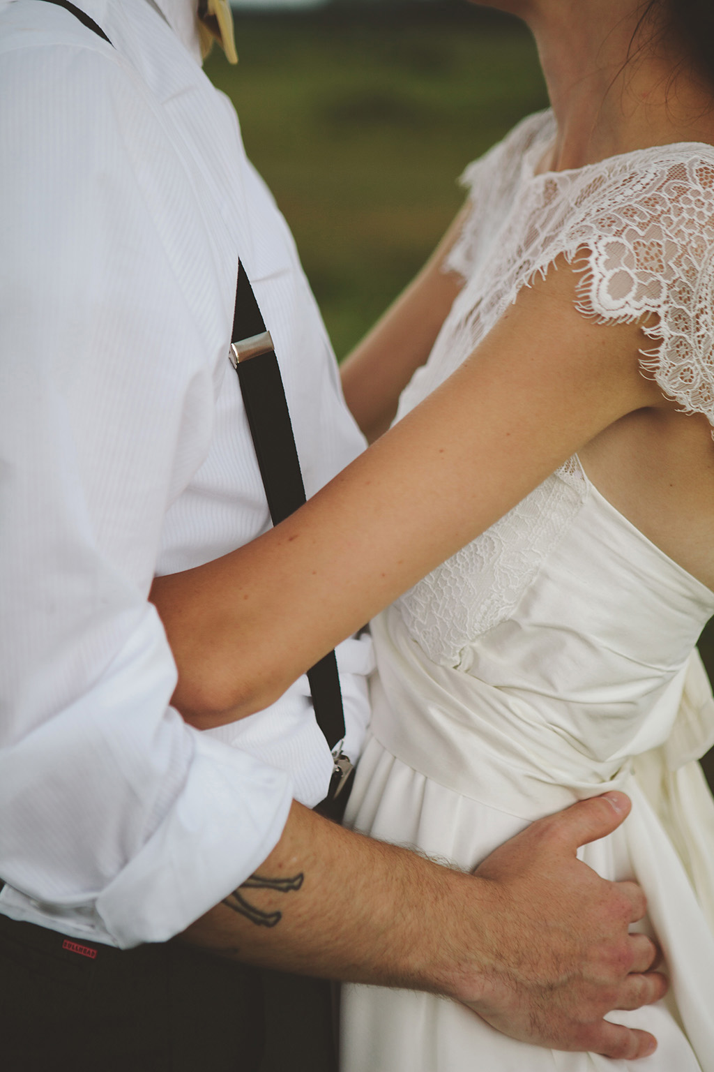 bride and groom outfit details for DIY wedding