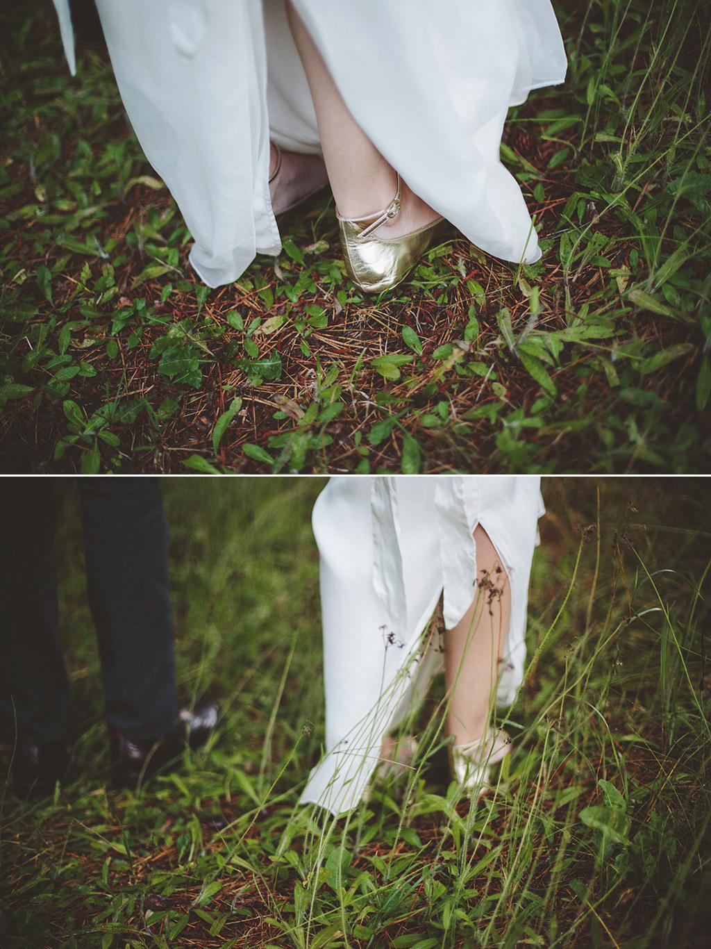 gold wedding shoes at woodland wedding