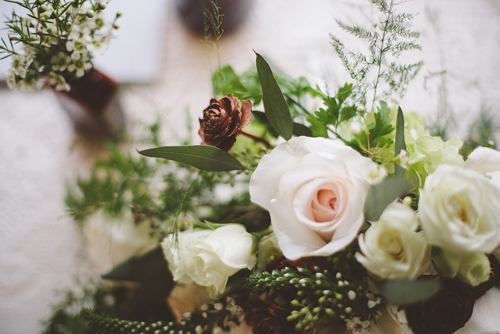 DIY wedding in Maine floral table centerpieces