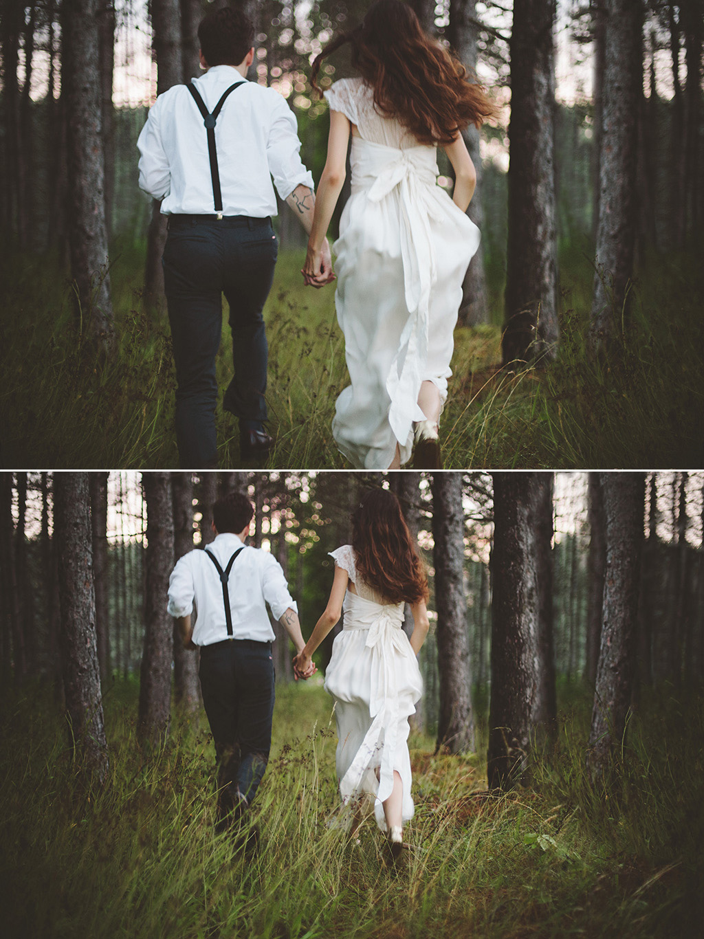 Bride and groom running through the northern woods