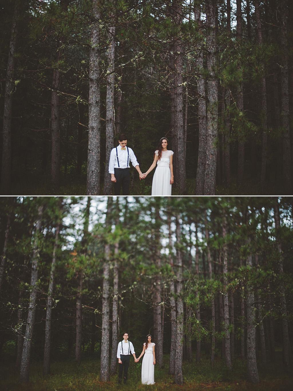 DIY woodland wedding in Maine bride and groom portrait