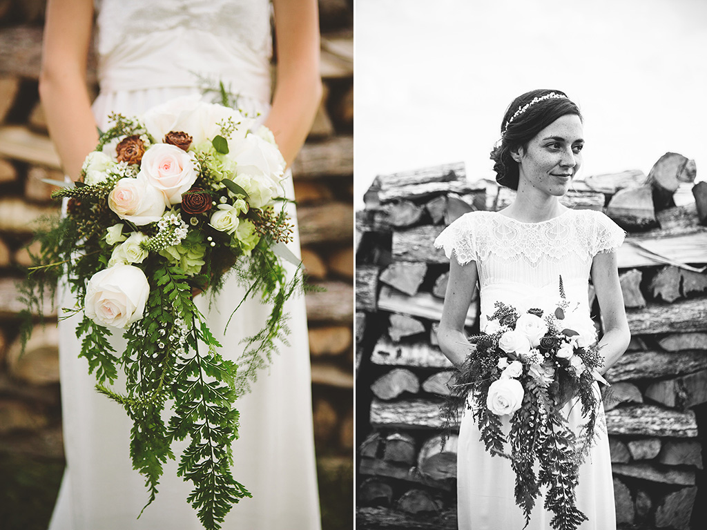 Bridal floral boquet inspirtation with light pink and rust colored flowers.