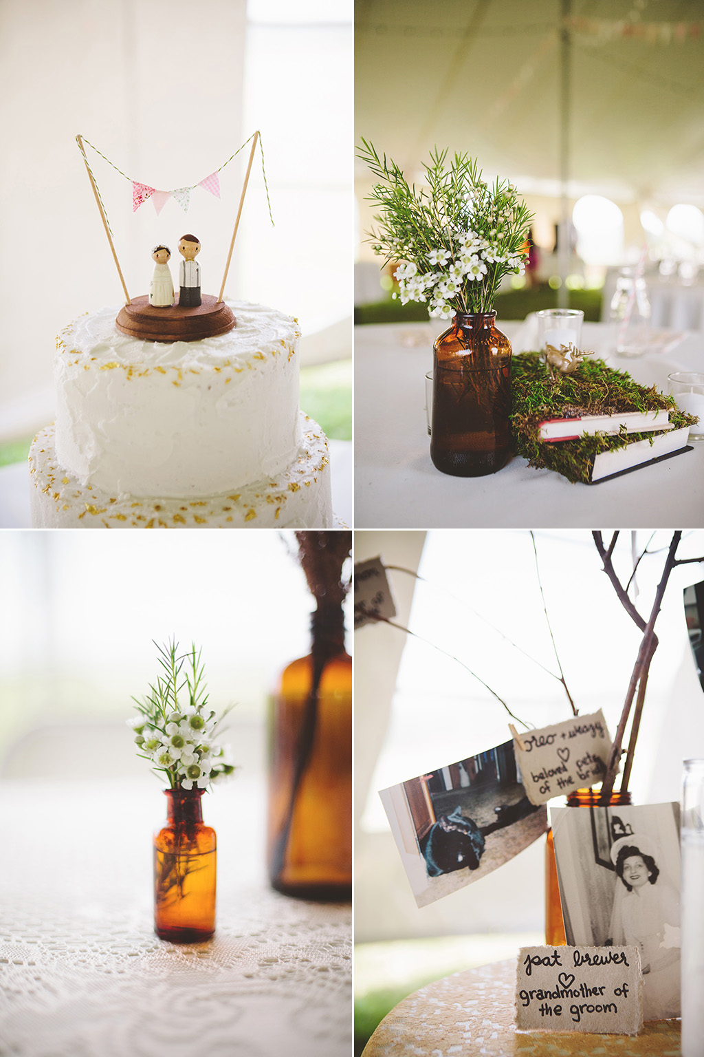 DIY wedding in maine homemade cake toppers and vintage photographs