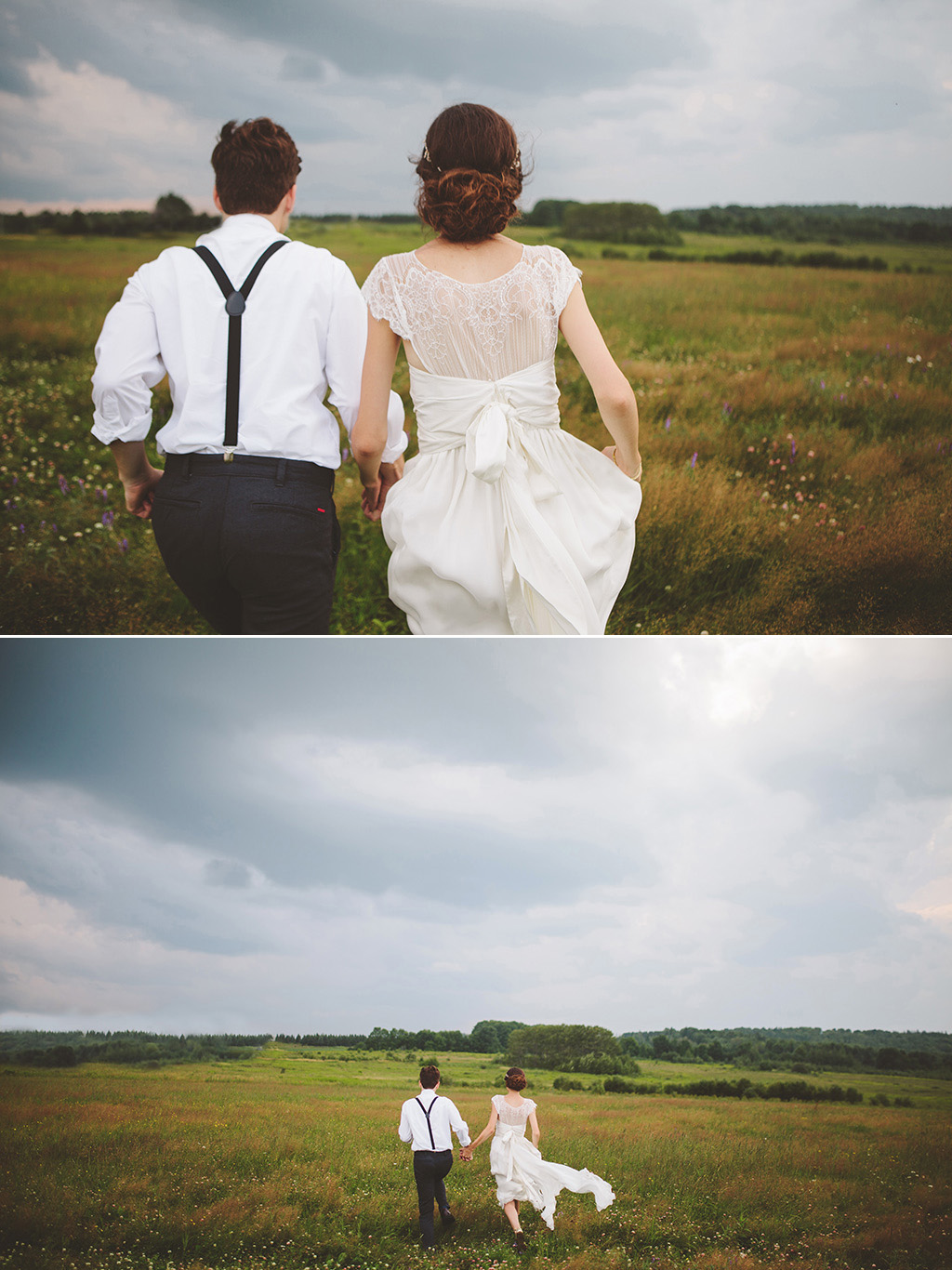 couple portraits running through stormy field at DIY woodland wedding in Maine