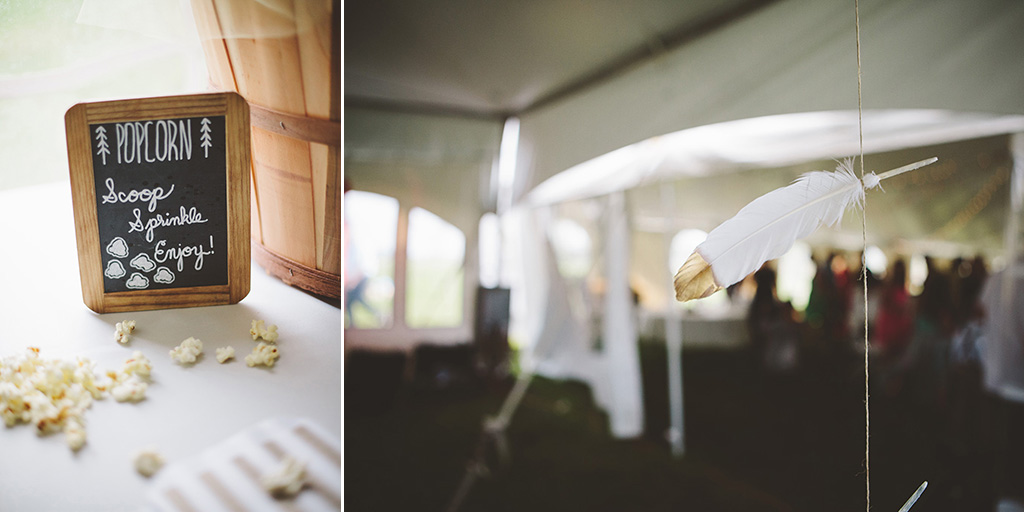 chalkboard popcorn bar and gold dipped feathers at DIY wedding in Maine