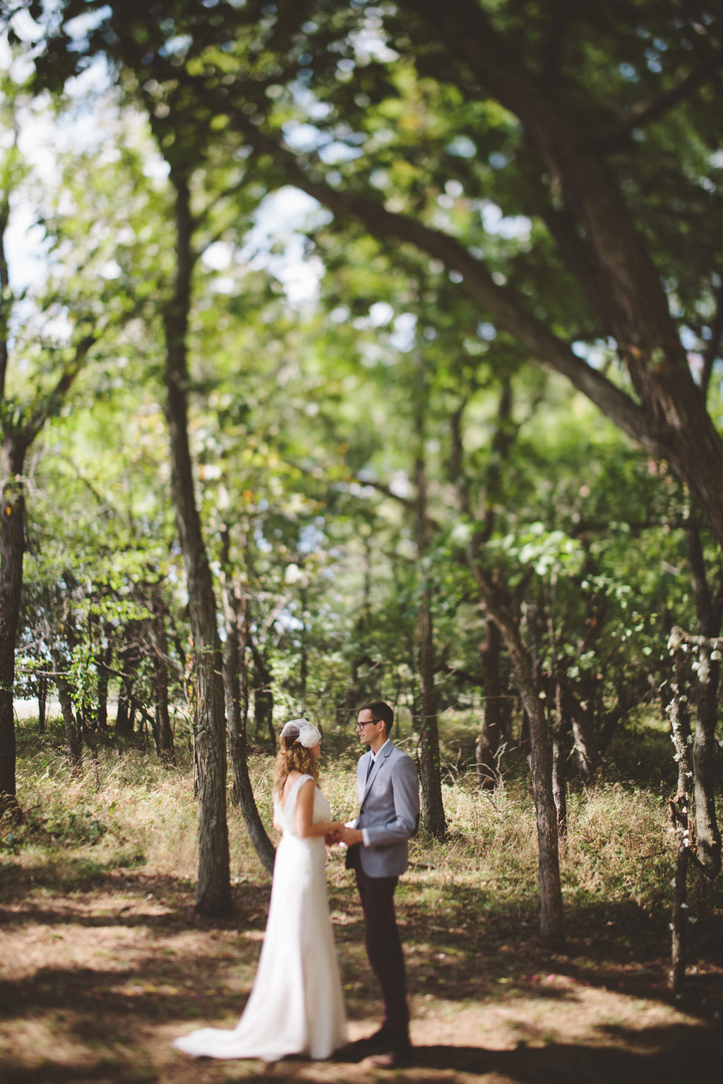 Artist wedding in the woods