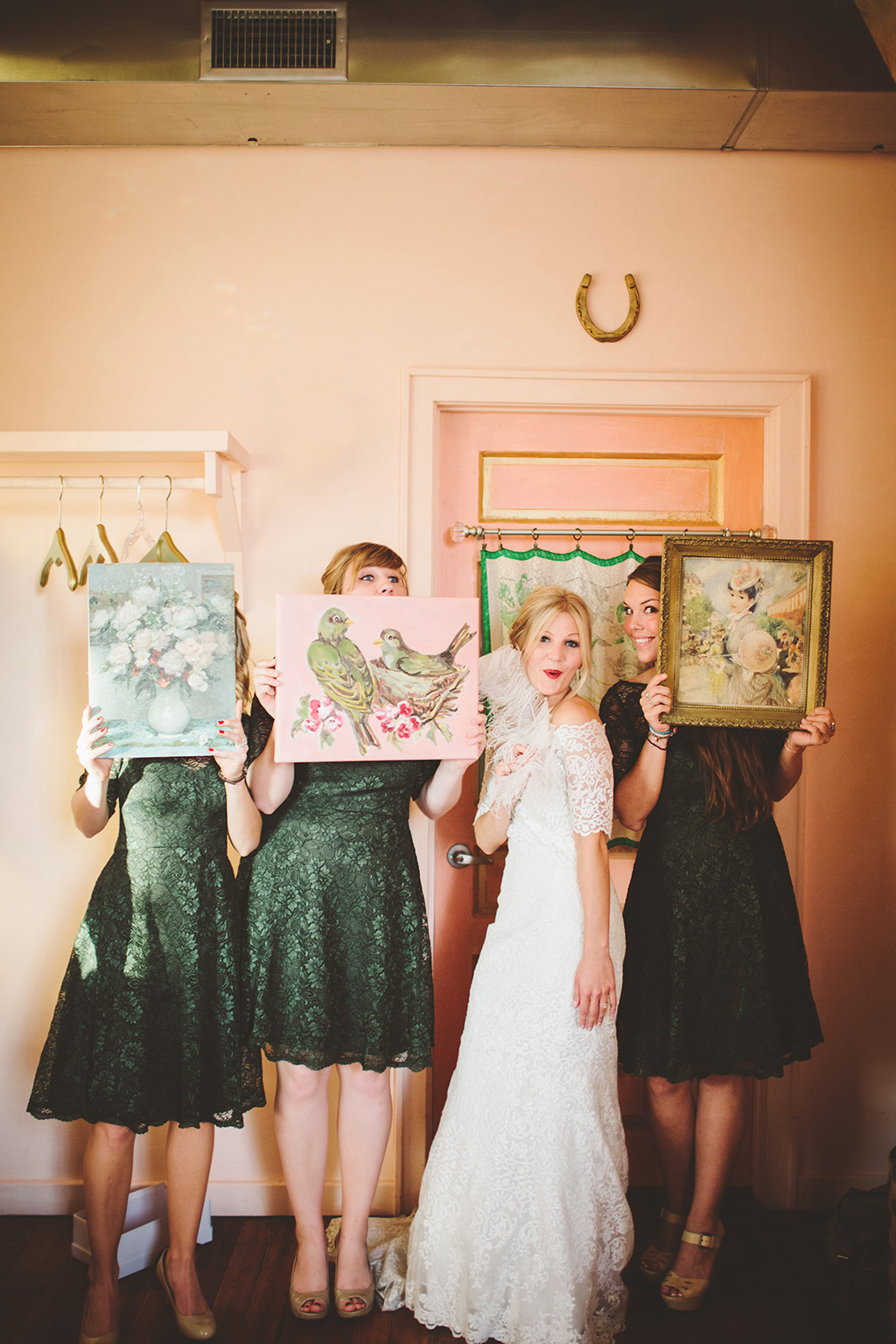 Whimsical bridal party at The Bride and the Bauer Wedding