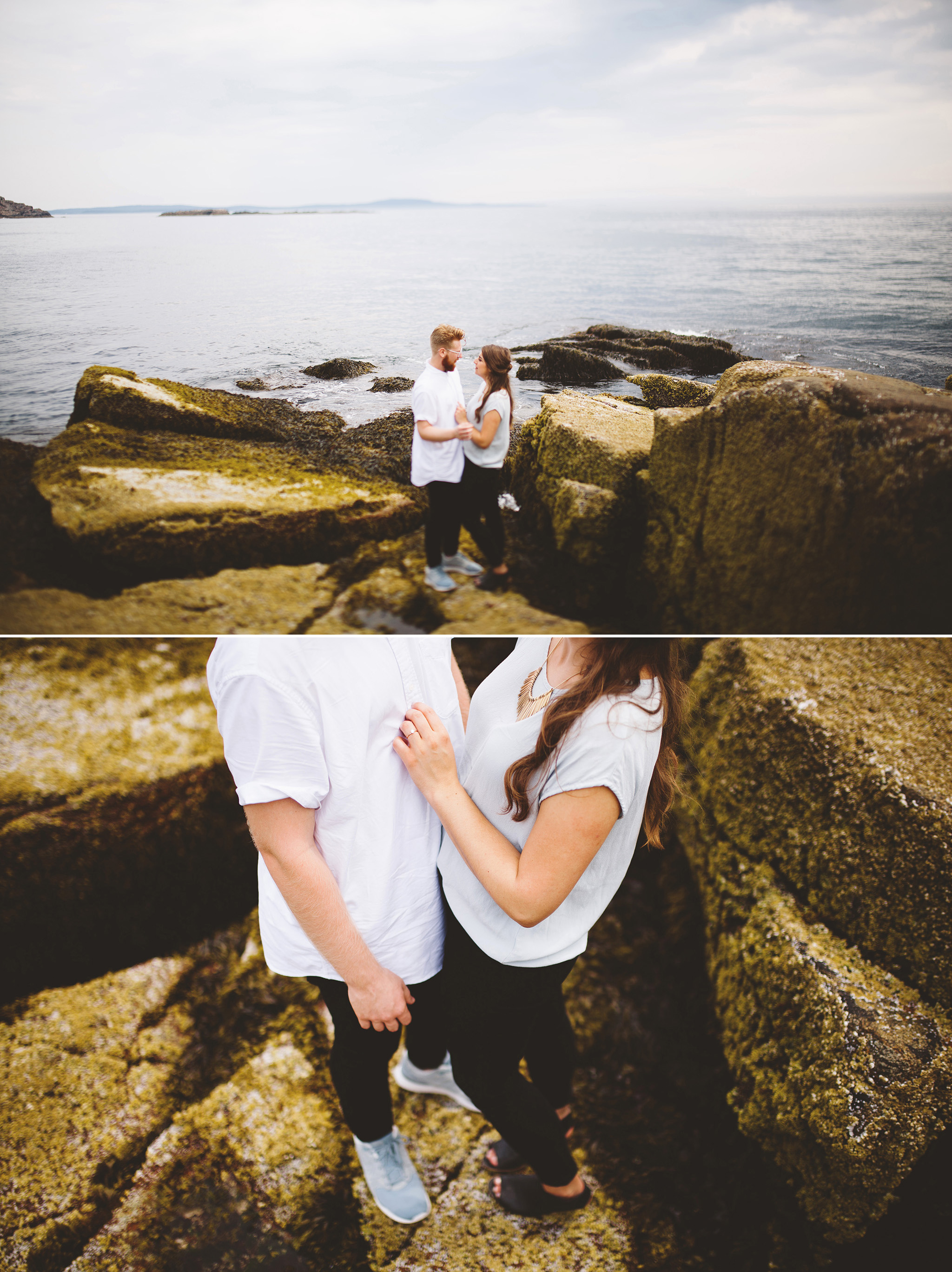 A surprise proposal by the sea. Acadia National Park Engagement