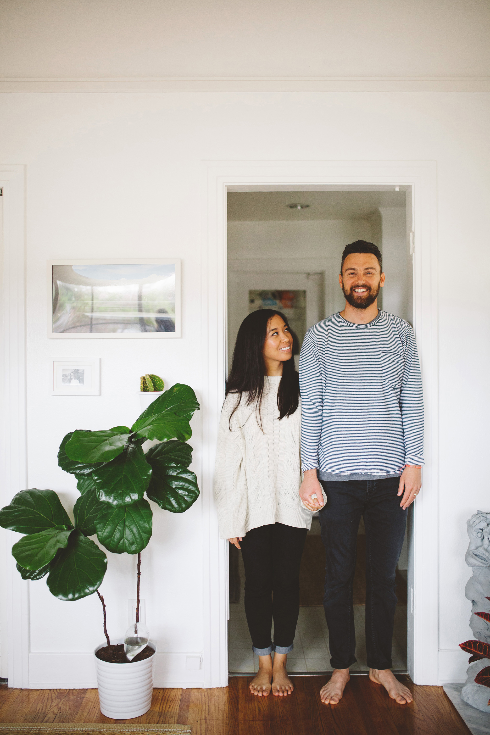 Intimate in home engagement pictures in Santa Monica