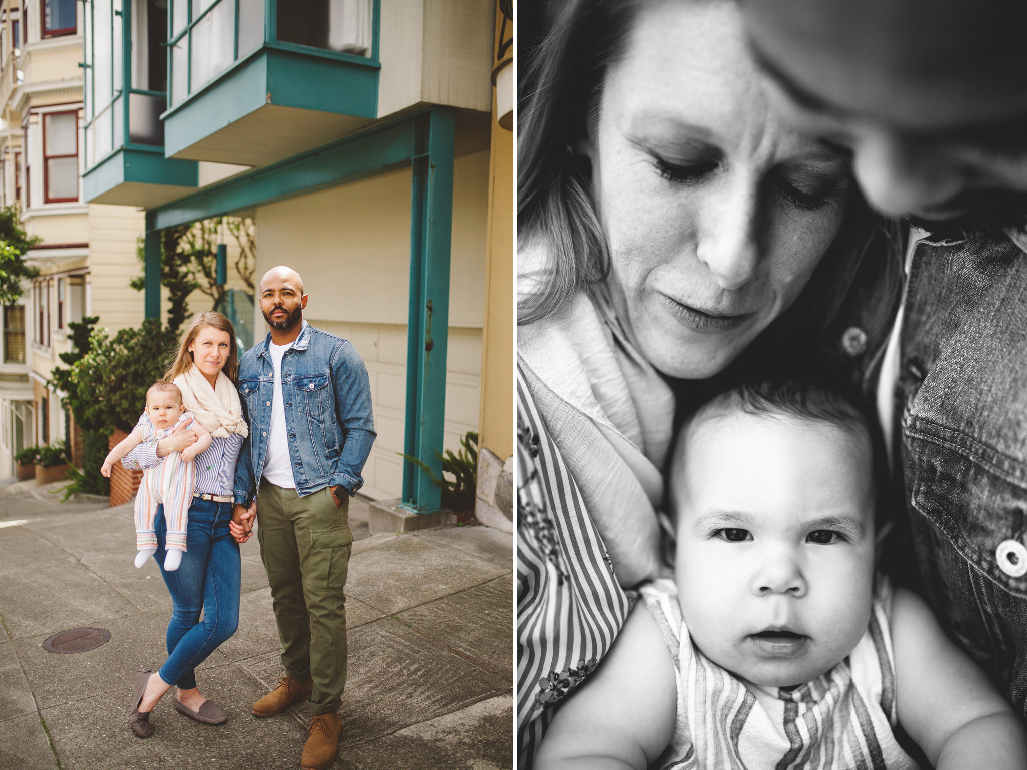 Candid family pictures exploring the colorful streets of San Francisco