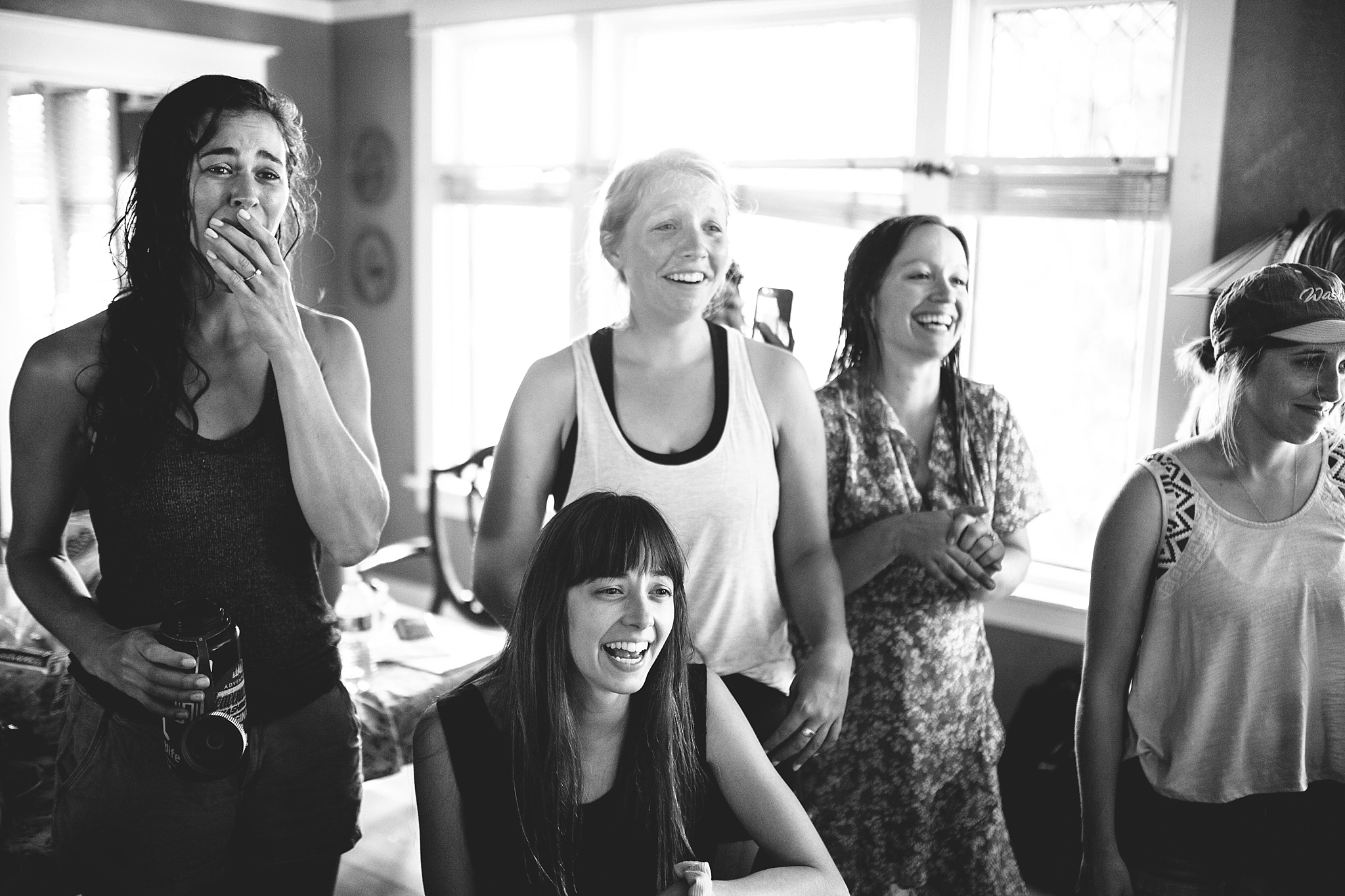 bridesmaid reaction for wedding in the woods