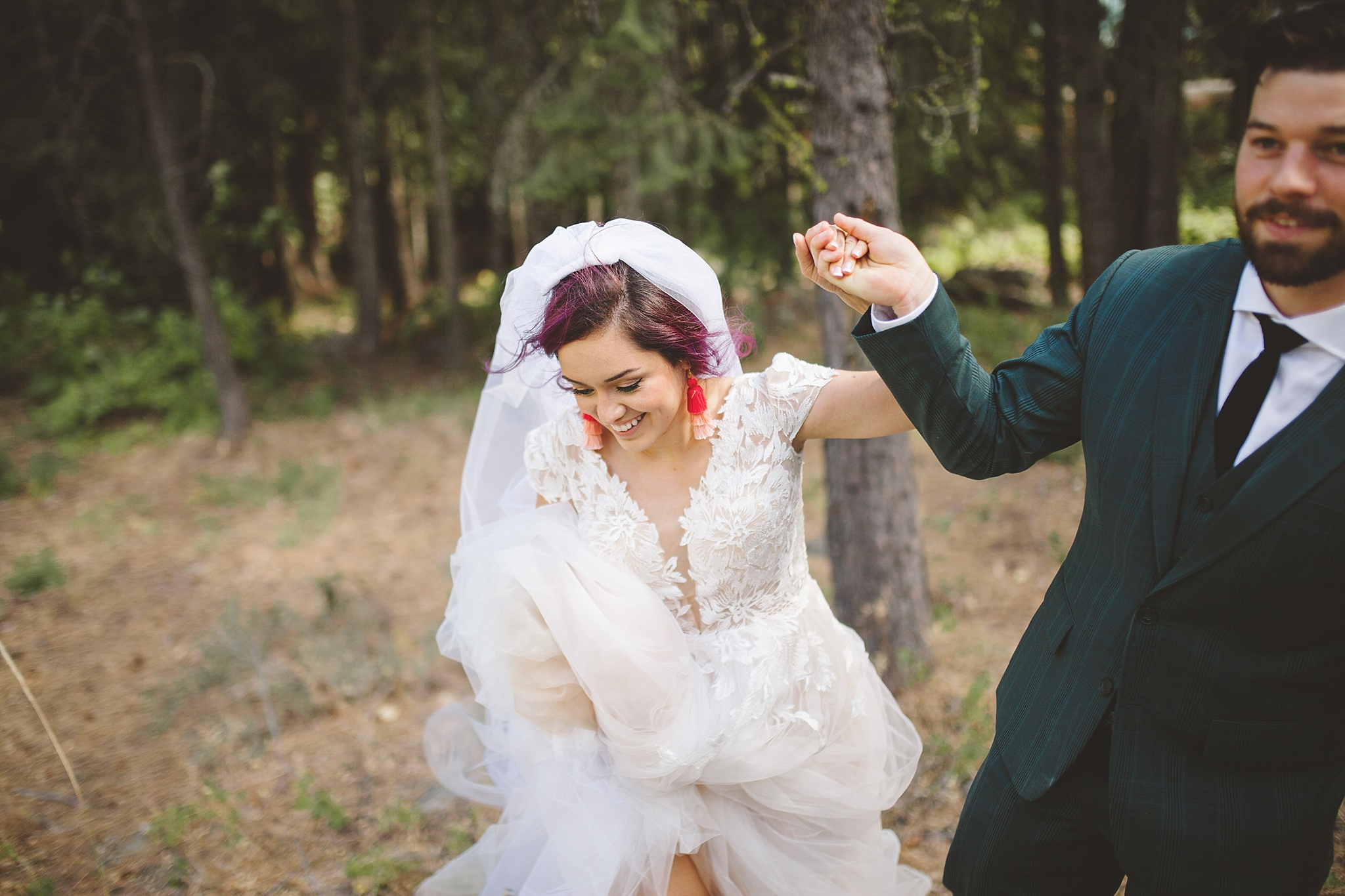 happy candid couple on wedding day