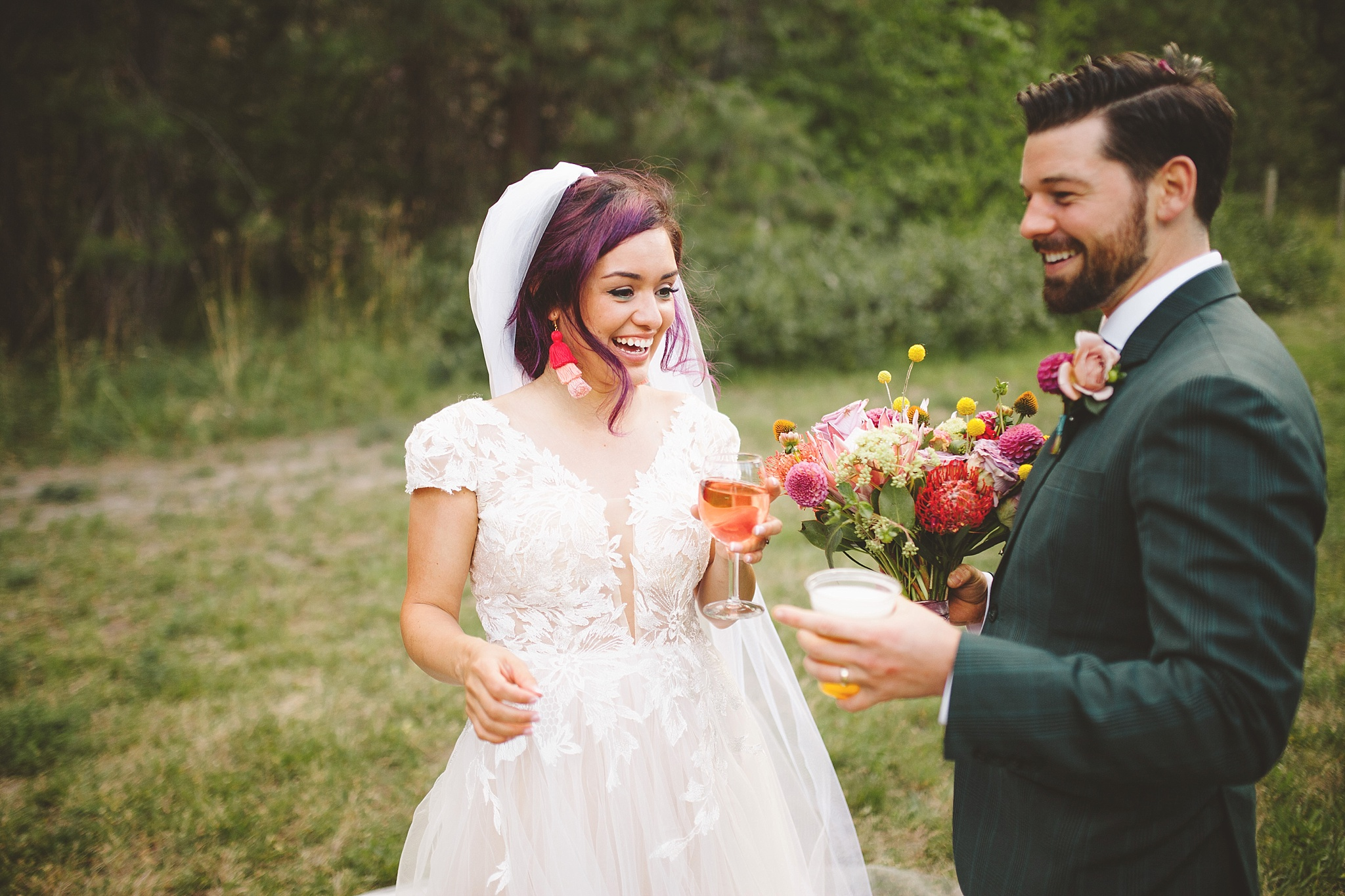 couple laughing together after wedding ceremony