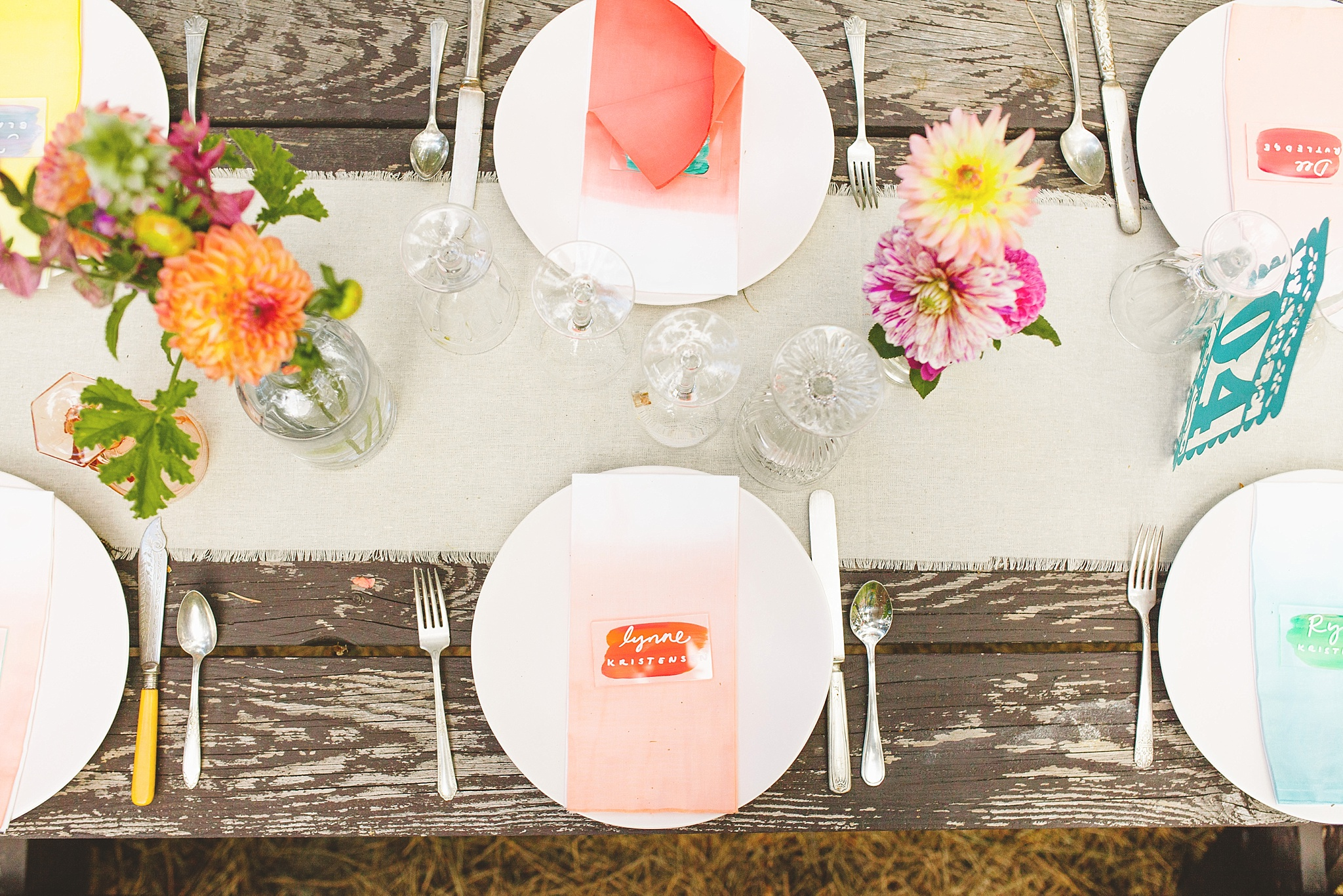 colorful bohemian place settings