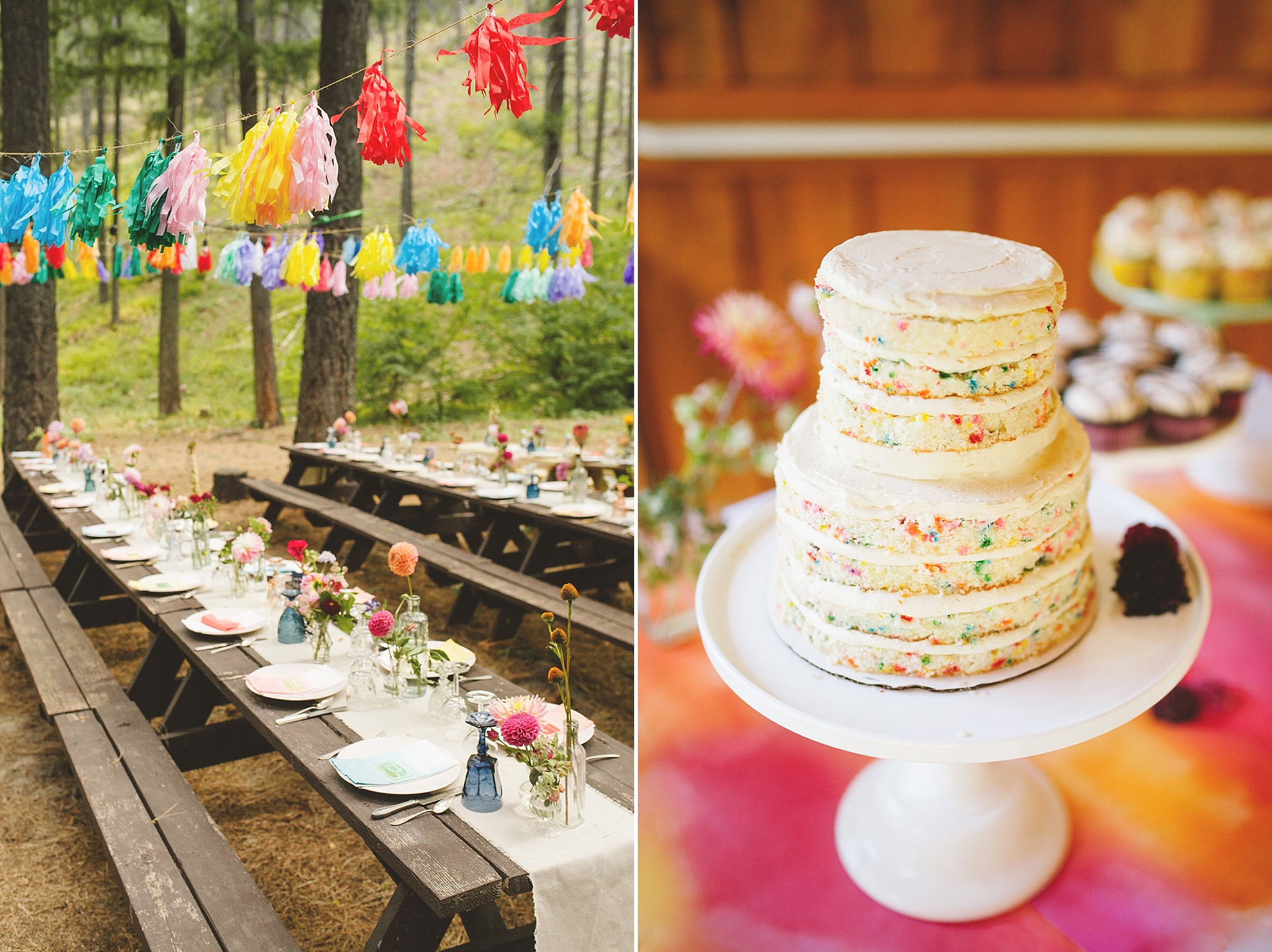 bright colorful modern cake for wedding