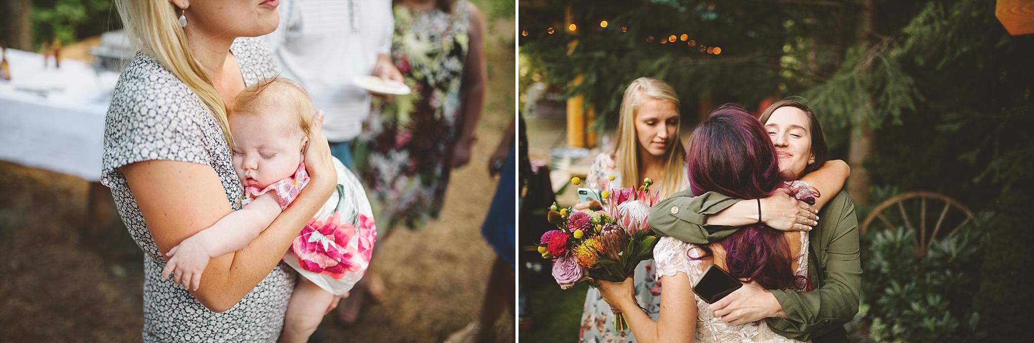 bride talks with wedding guests