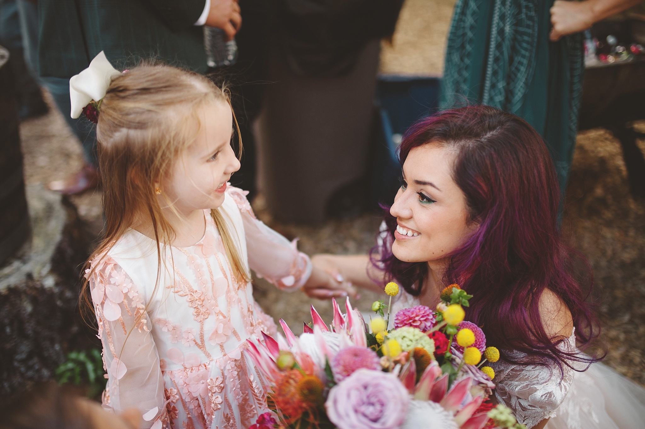 candid with flower girl