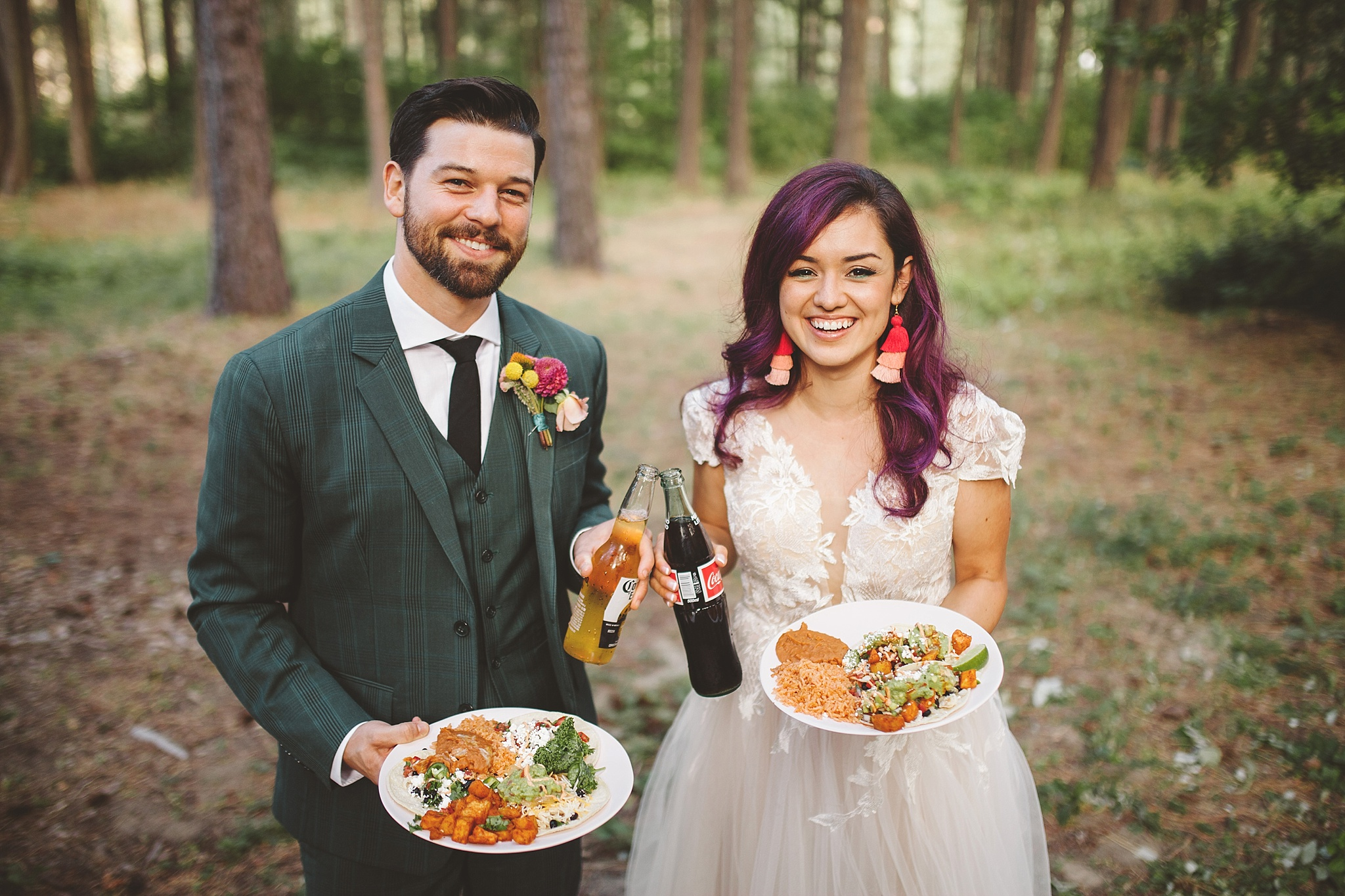 wedding couple and their reception food