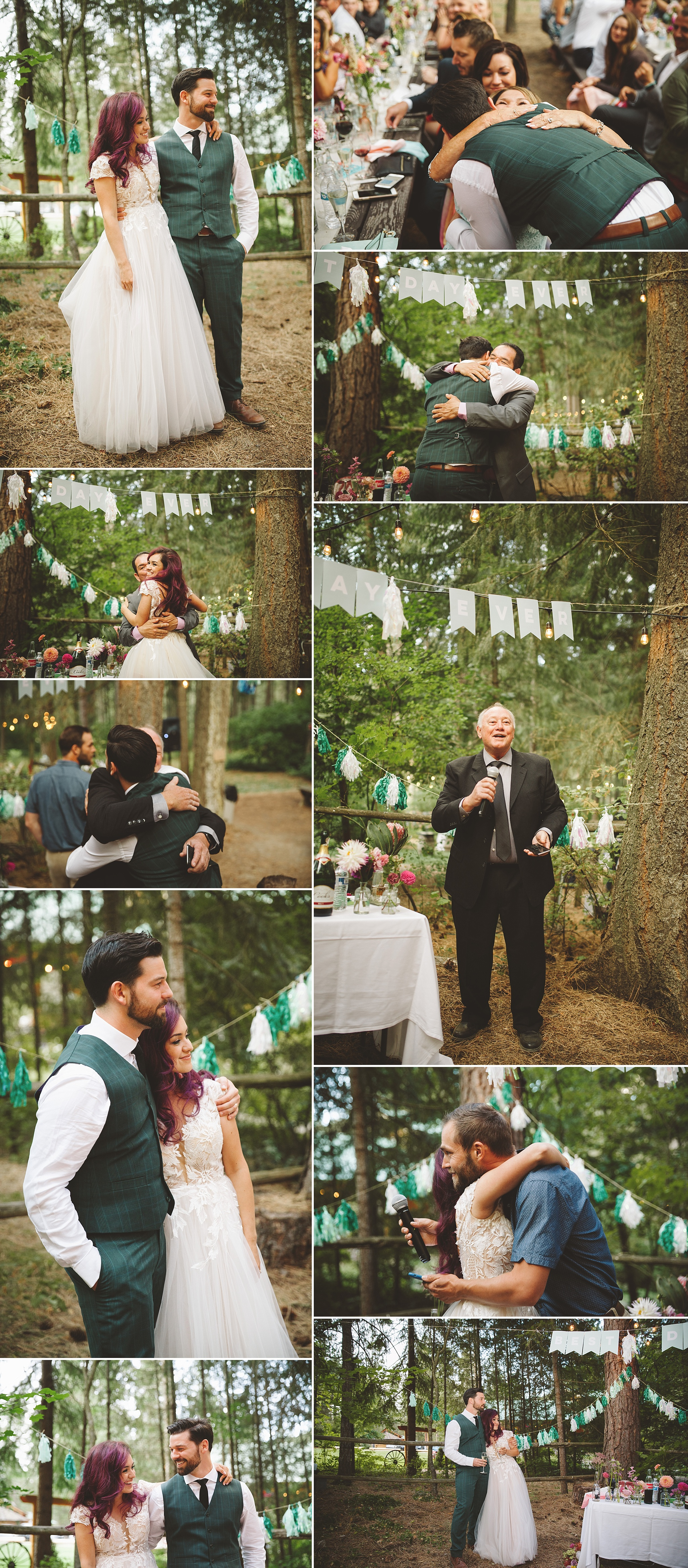 wedding speaches at PNW outdoor wedding