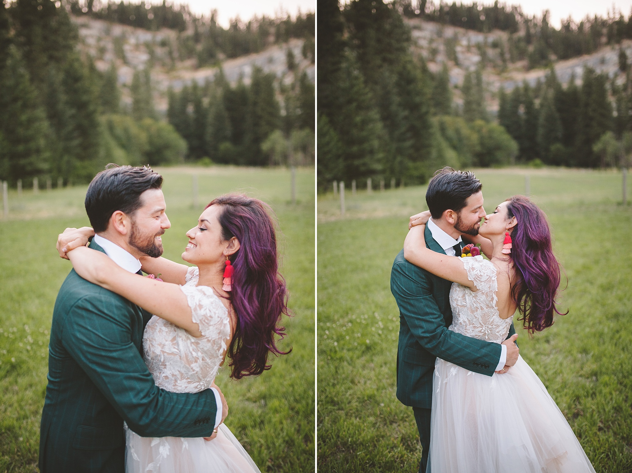 modern bride and groom married in the woods
